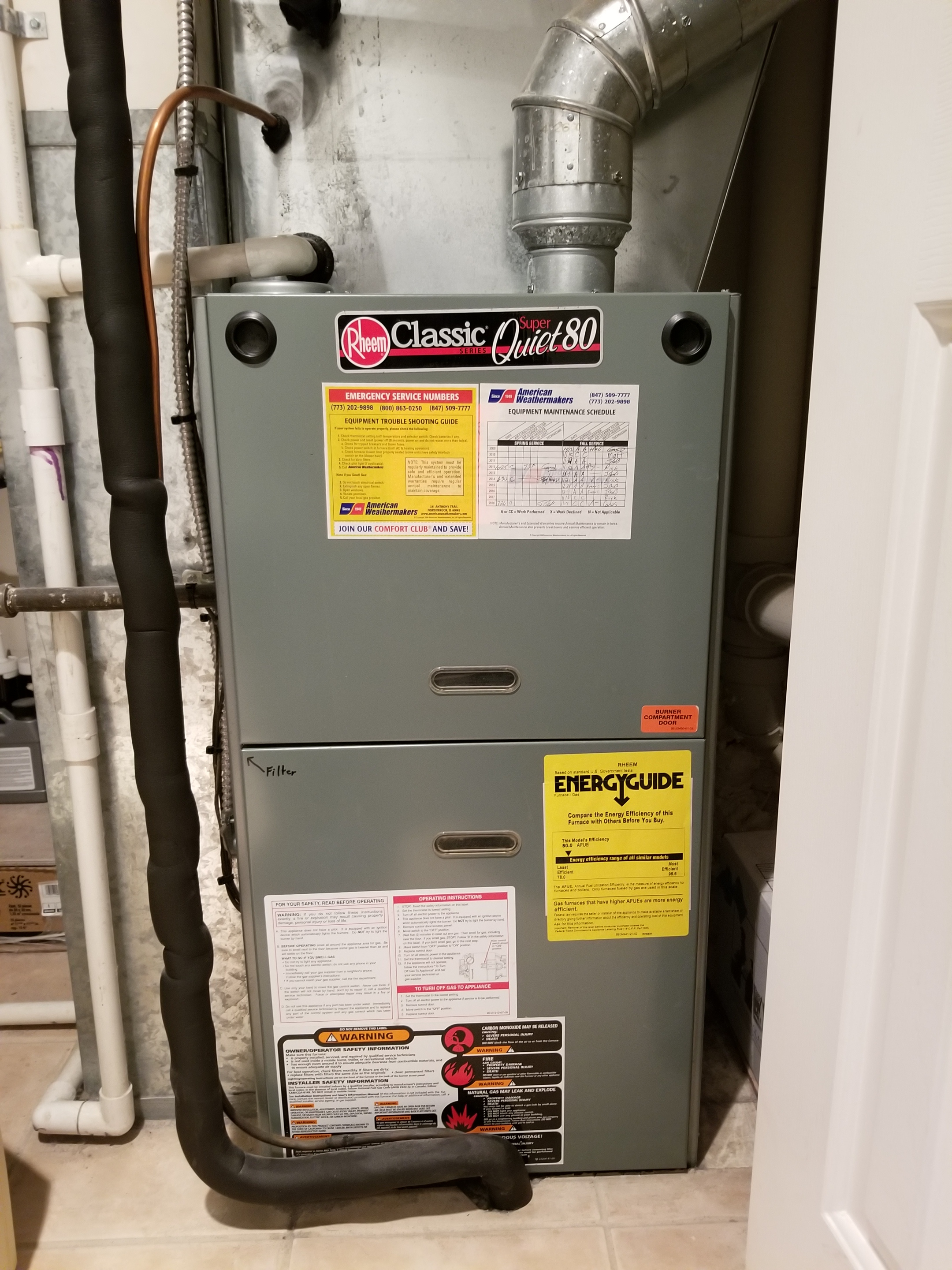 Performed annual maintenance on the Rheem furnace and Aprilaire humidifier and made adjustments to improve the overall efficiency and life expectancy of the equipment