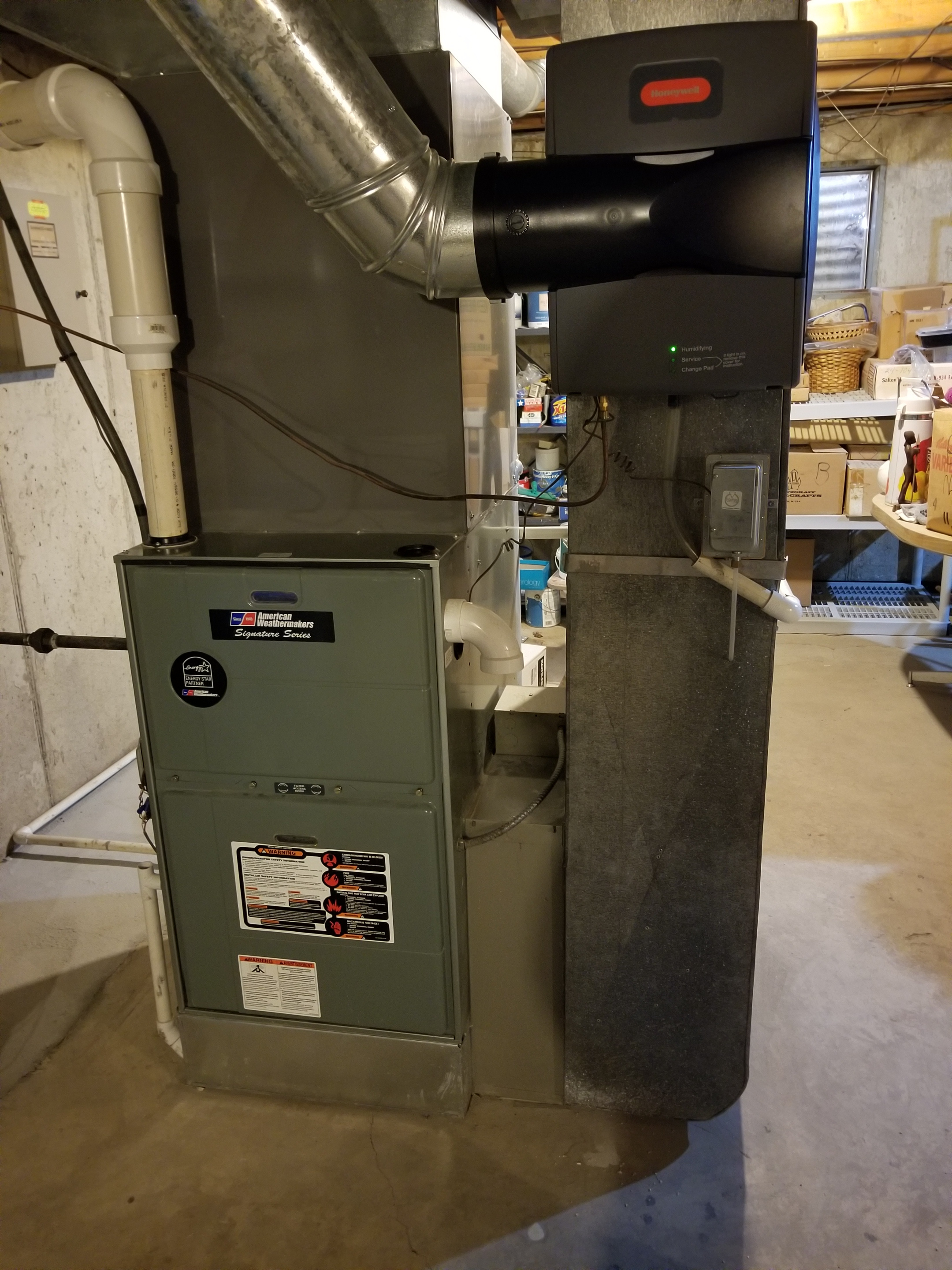 Performed annual maintenance on the American Weathermakers Rheem furnace and Honeywell humidifier and made adjustments to improve the overall efficiency and life expectancy of the equipment