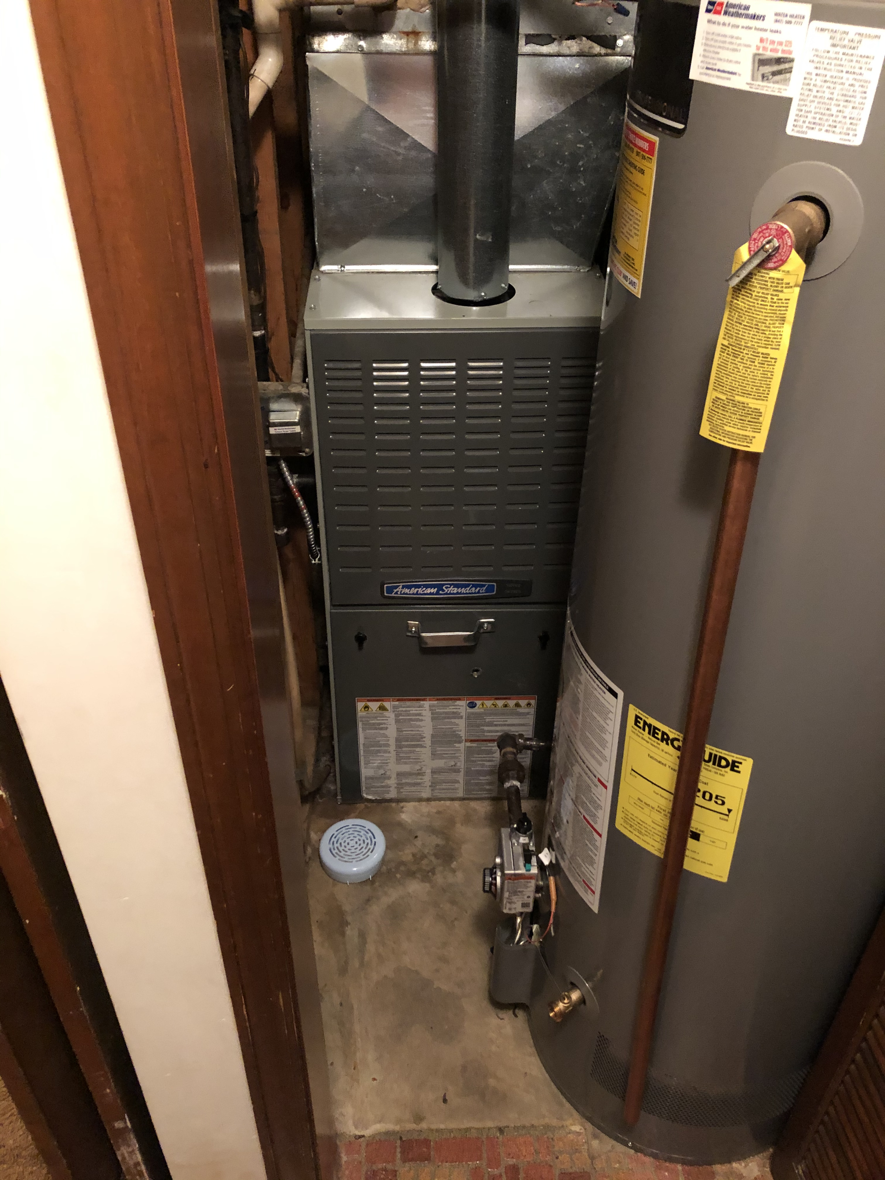An American Standard furnace with a tight squeeze.