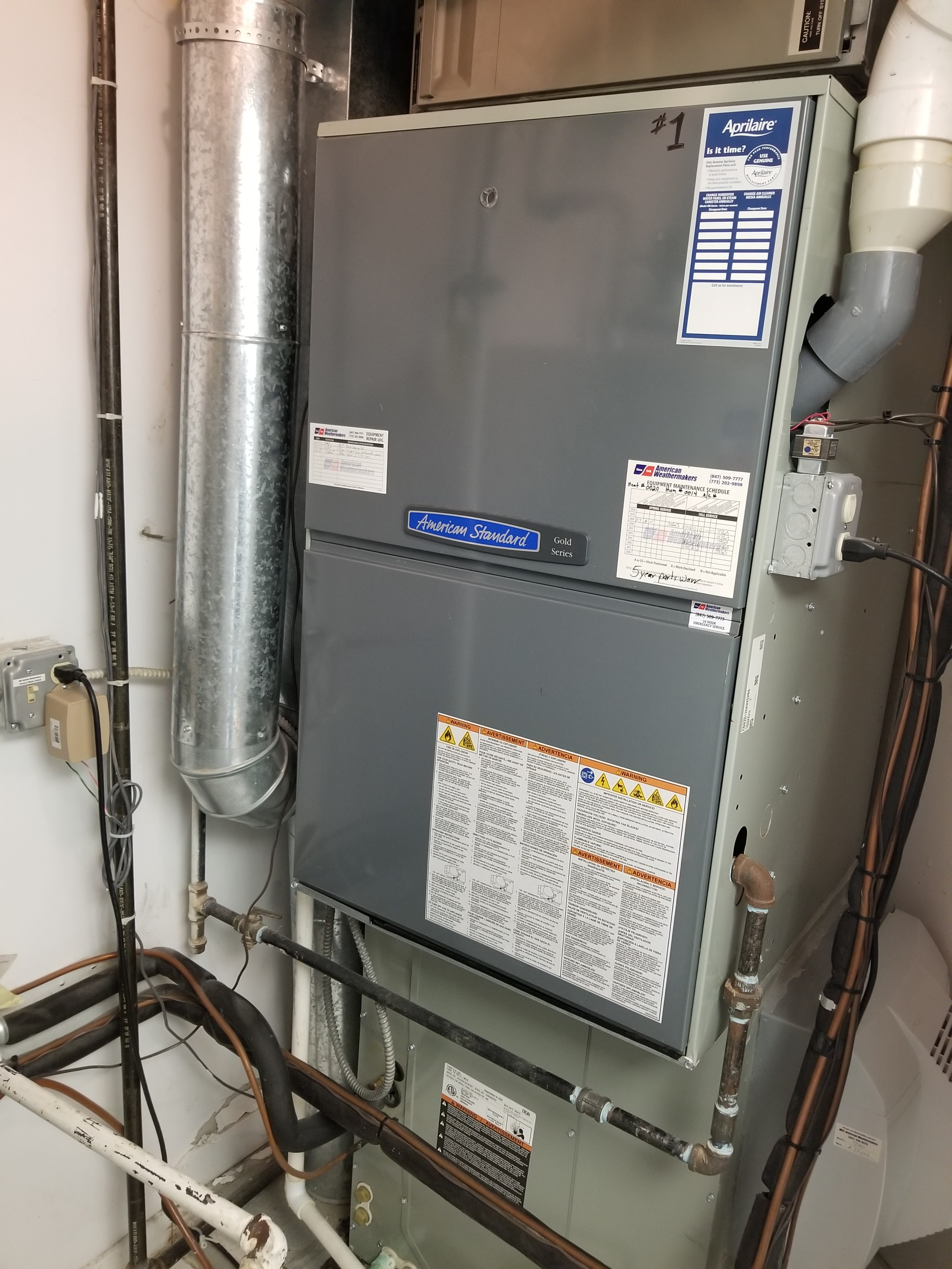 Performed annual maintenance on the American  Standard furnace and Aprilaire humidifier and made adjustments to improve the overall efficiency and life expectancy of the equipment.