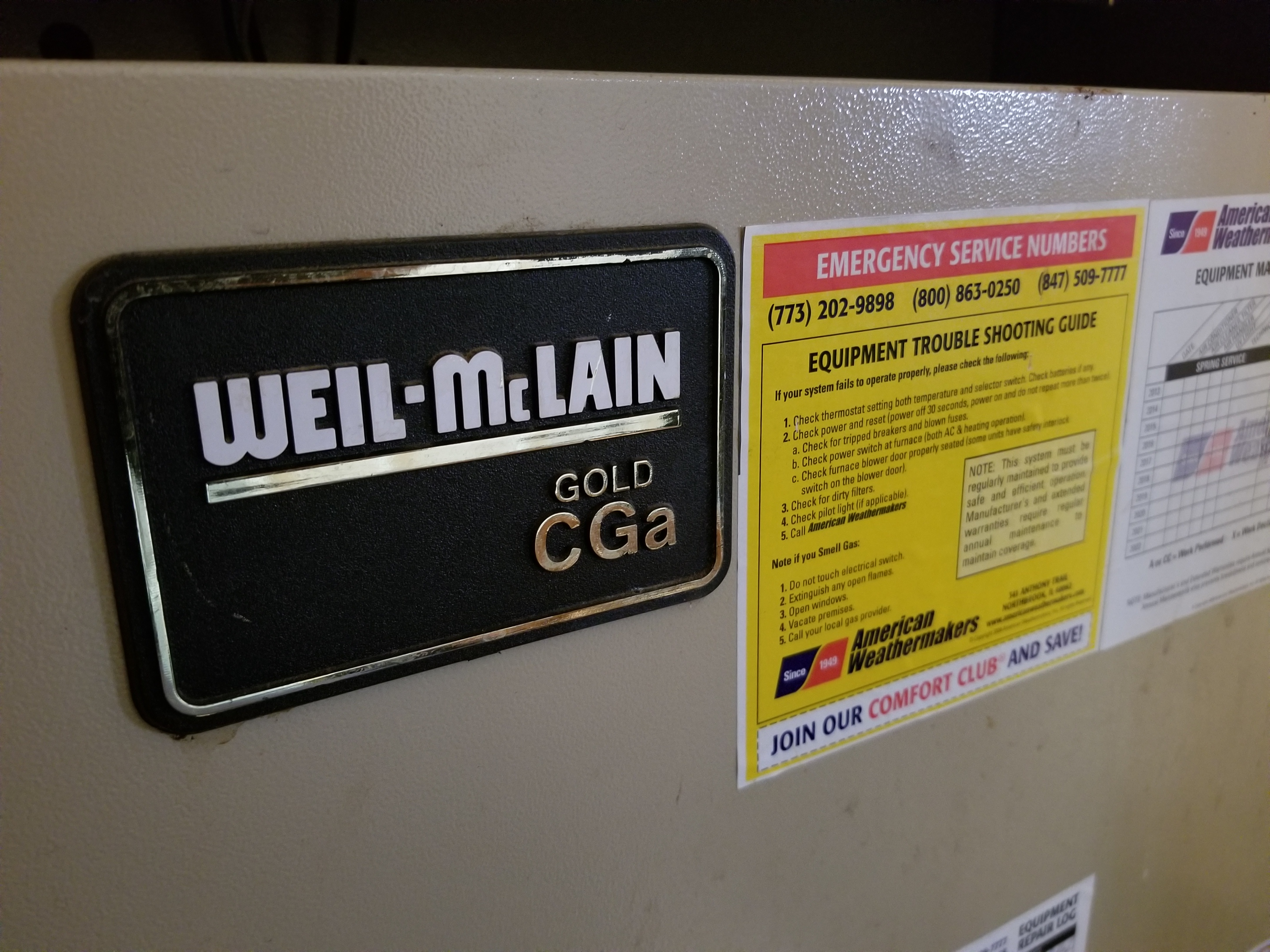 Weil McLain boiler, tune up and American Weathermakers. 847-509-7777