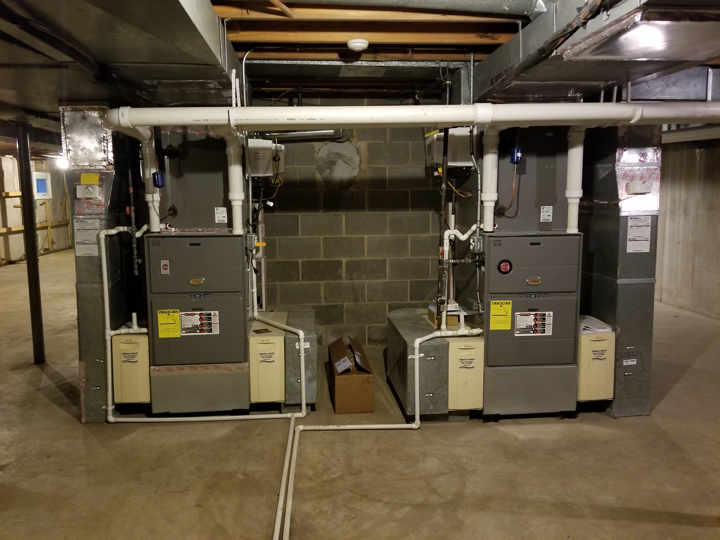 Performed annual maintenance on the Rheem furnaces, Space-Gard air filters and GeneralAire humidifiers. Made adjustments to improve the overall efficiency and life expectancy of the equipment