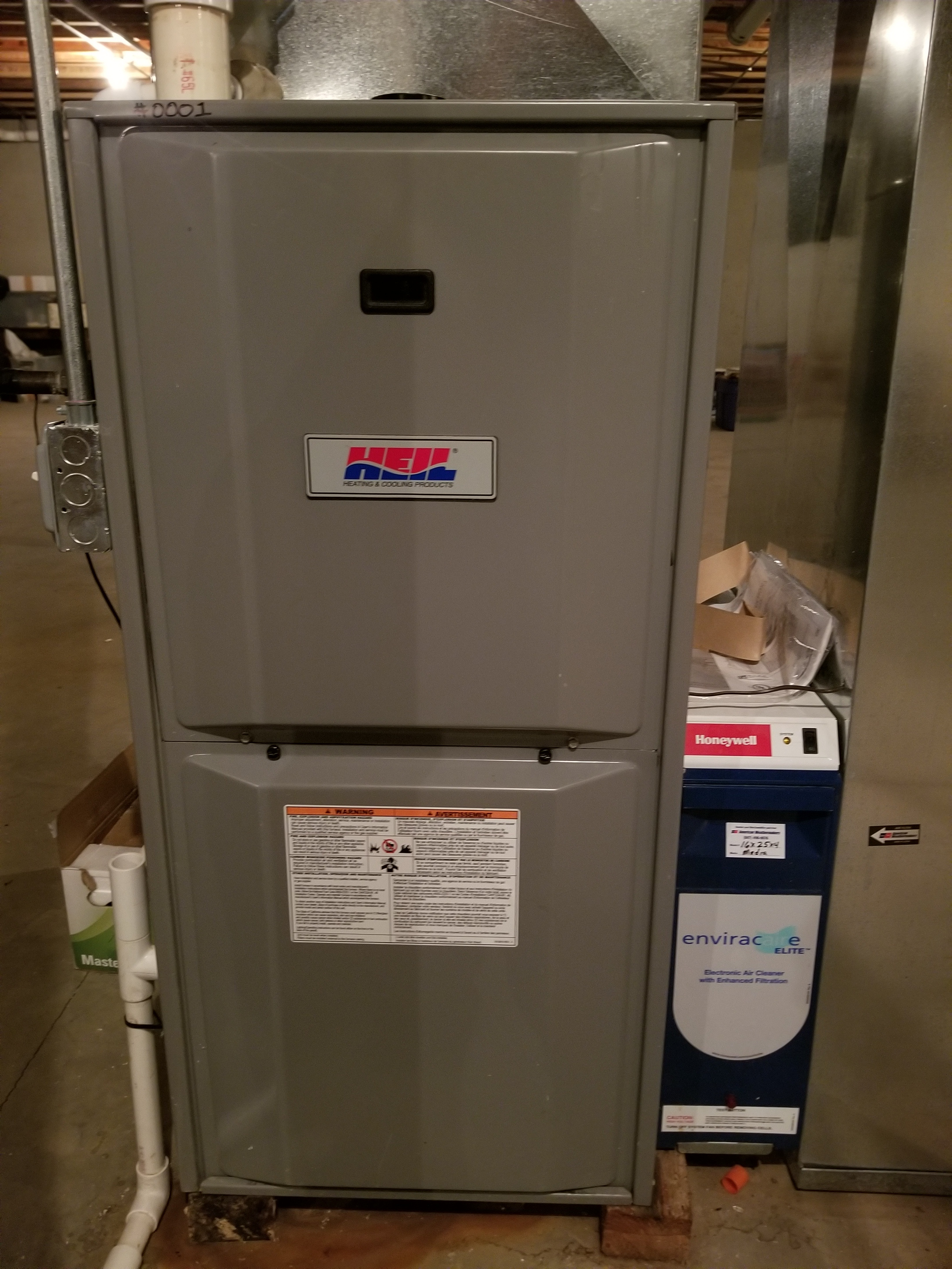 Repaired one Heil furnace and we are installing a Brand new High Efficiency Rheem furnace to increase the reliability and comfort of the home.