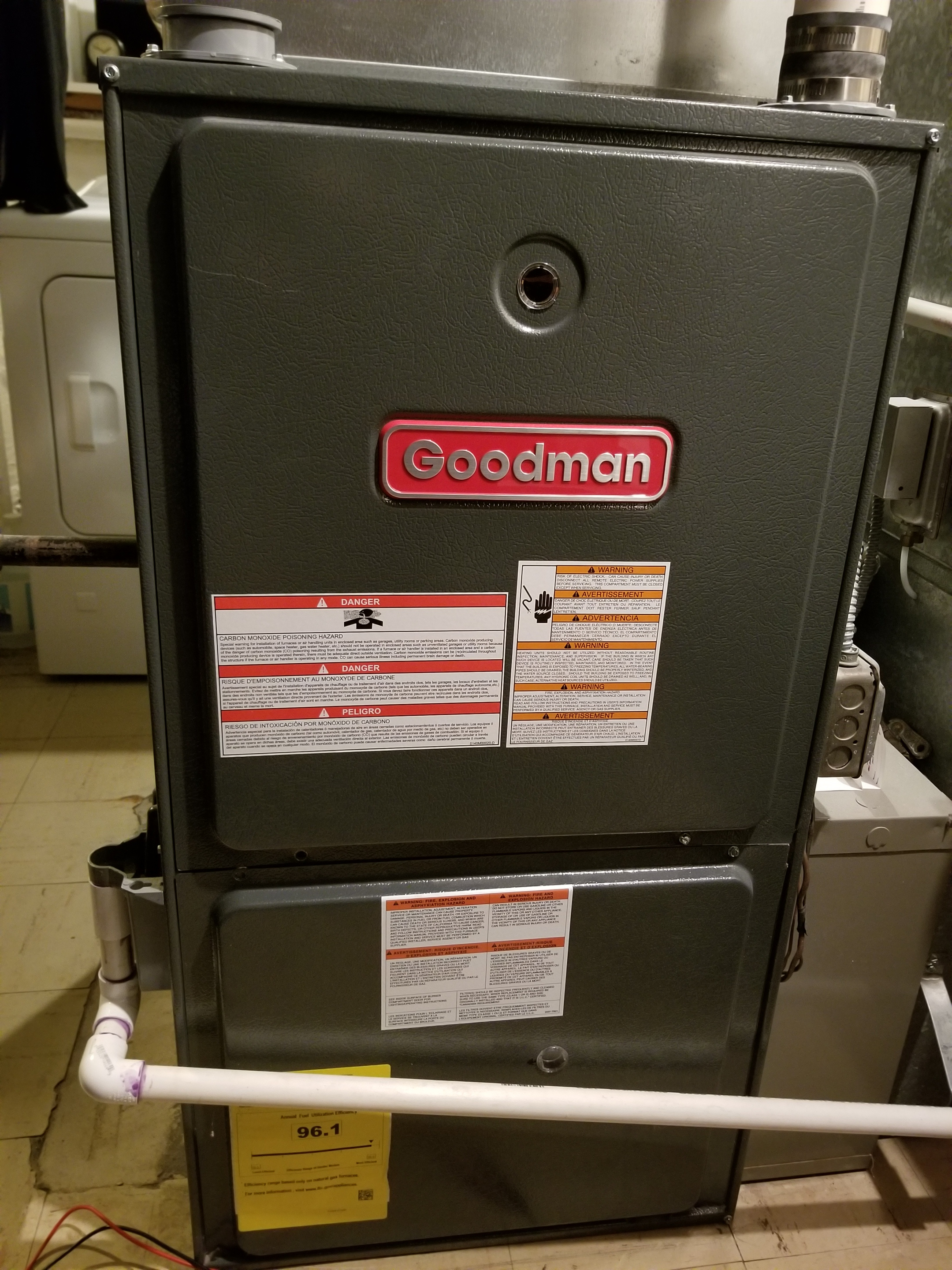 Repaired the Goodman furnace and made adjustments to improve the overall efficiency and life expectancy of the equipment