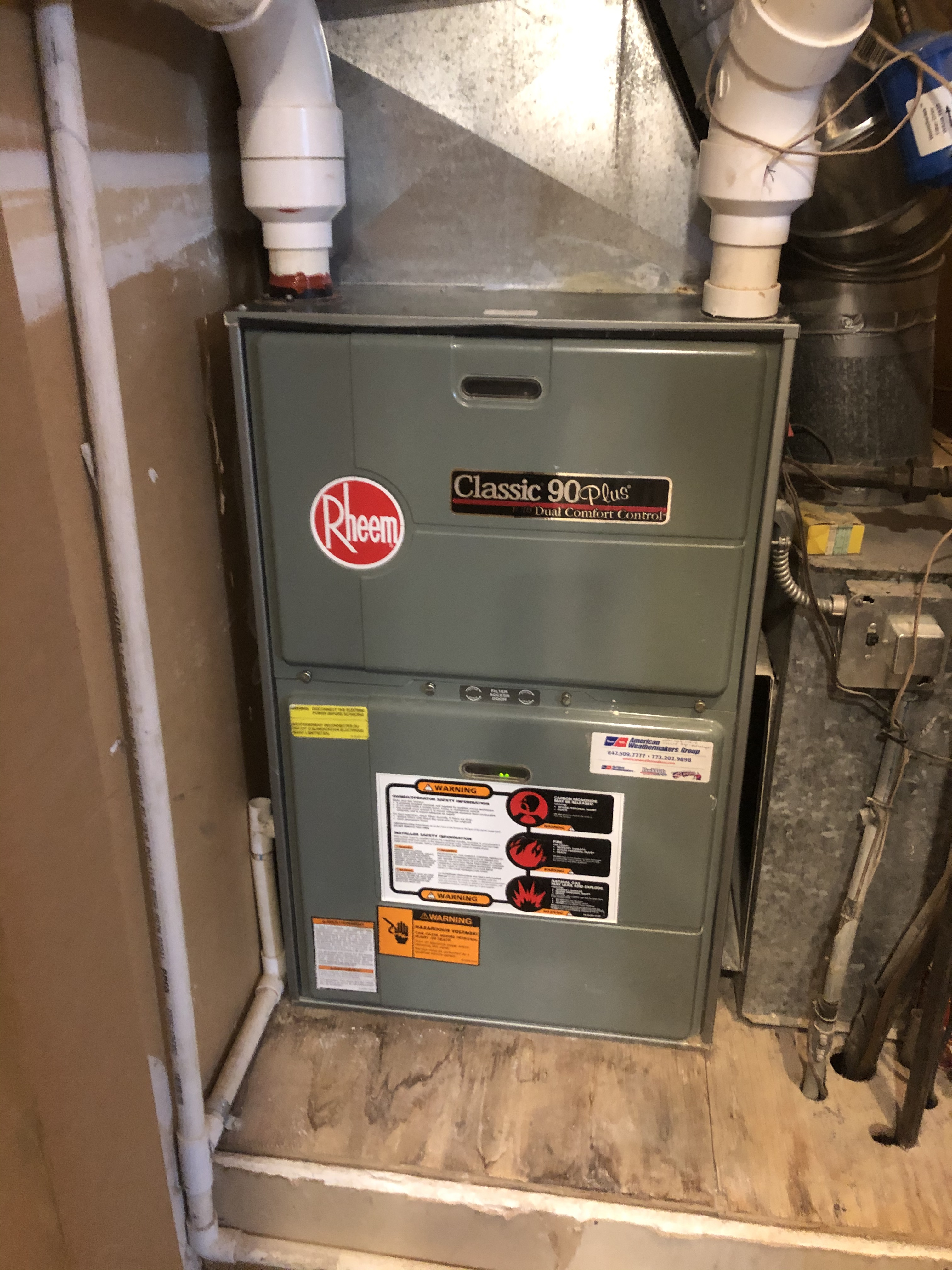 Keep your Rheem furnace running right this winter. Call American Weathermakers and schedule a maintenance today.