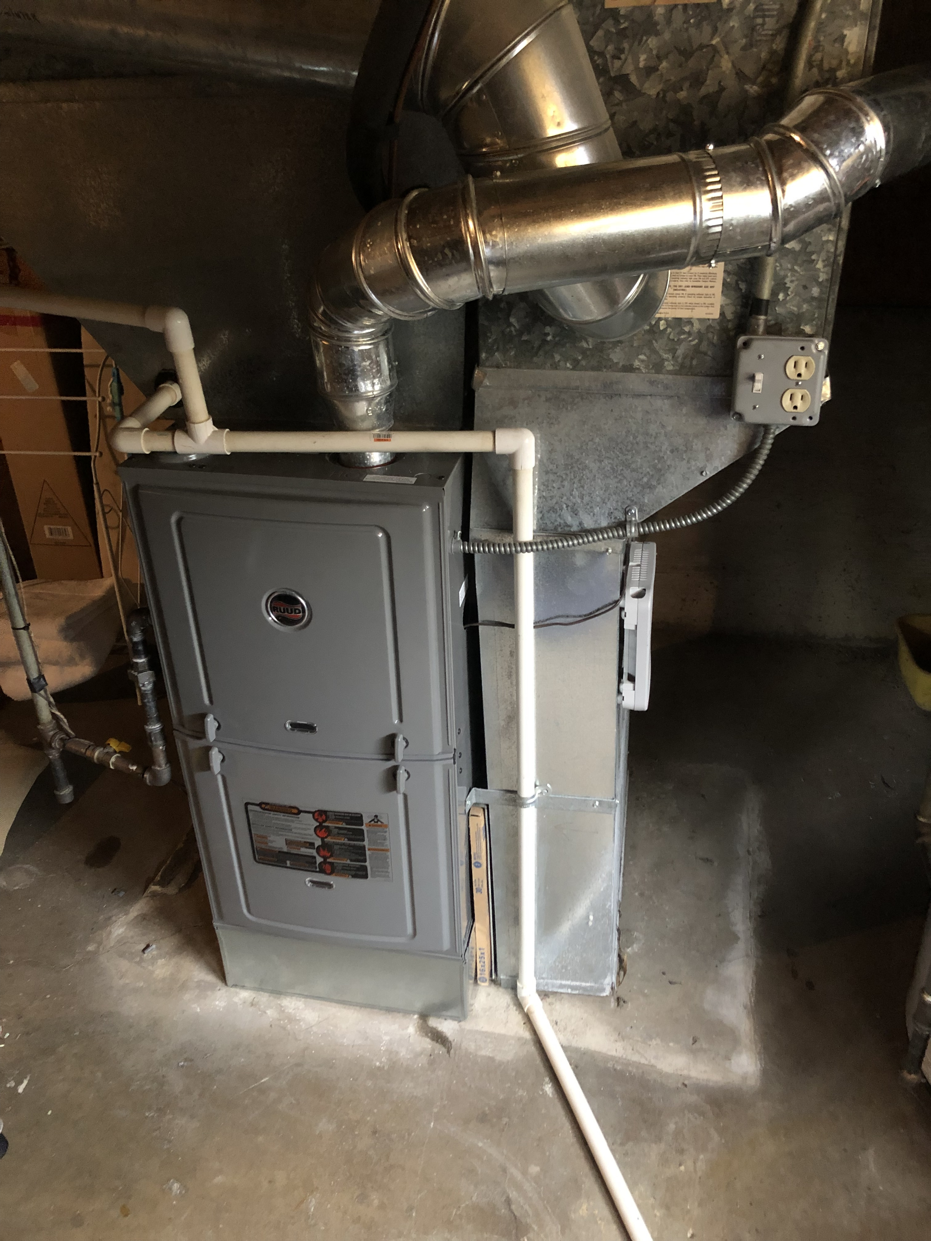 Arrived on call to a noise in the furnace. Check unit thoroughly check the blower wheel the motor and cycled unit thoroughly found noise coming from the return duct flexing when the blower would turn off so