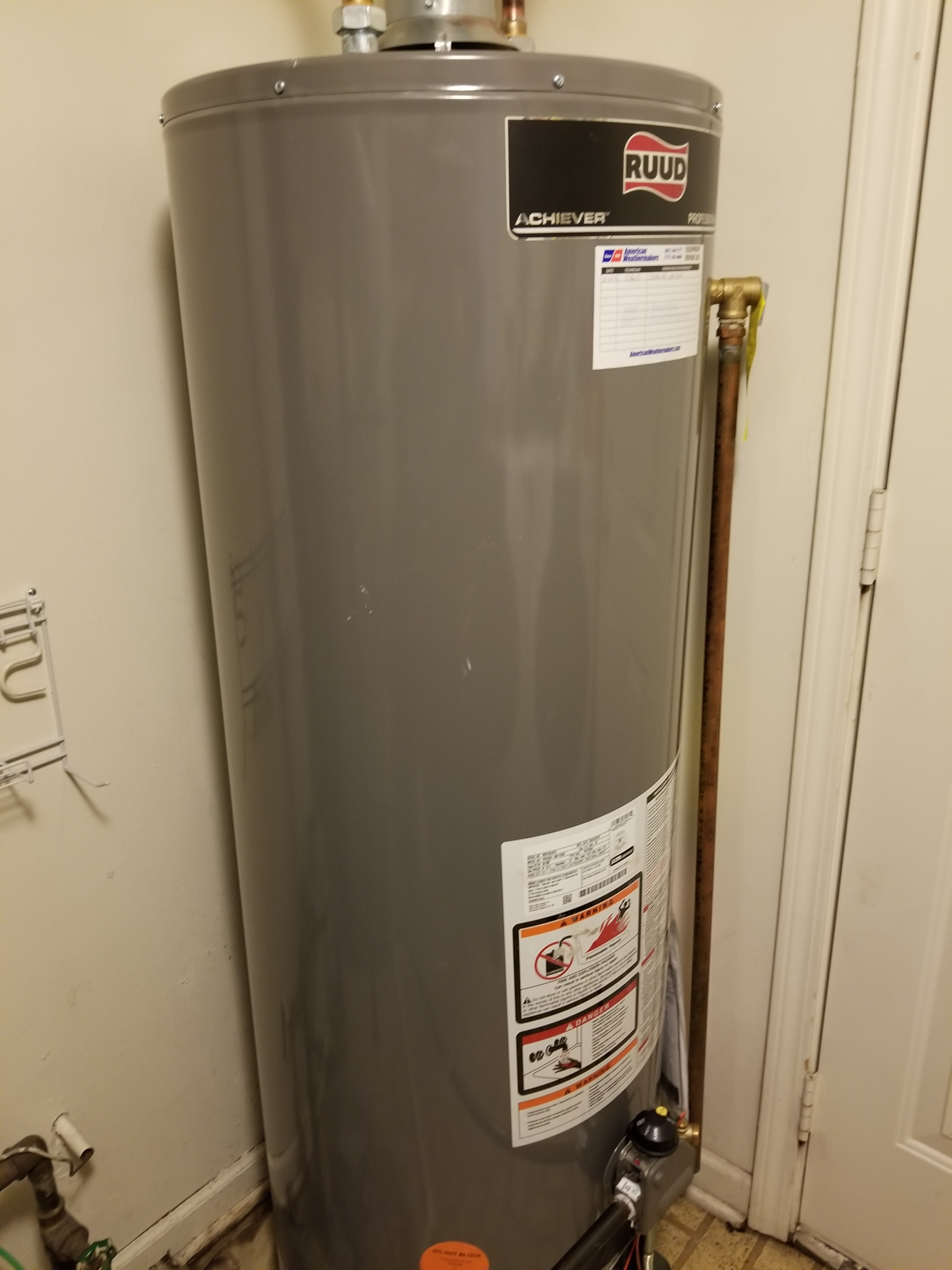 Install new Ruud water heater