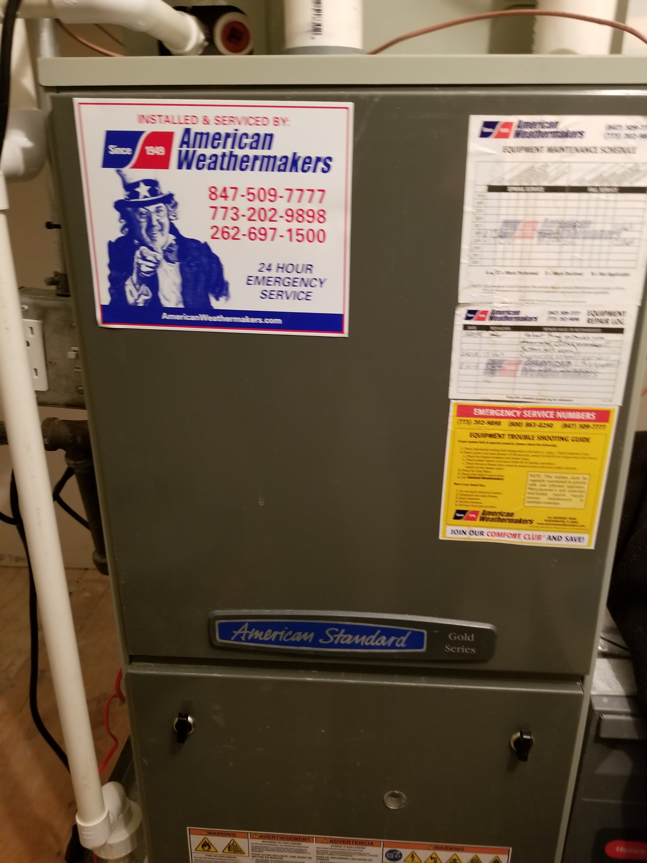 Repaired the American Standard furnace and made adjustments to improve the overall efficiency and life expectancy of the equipment