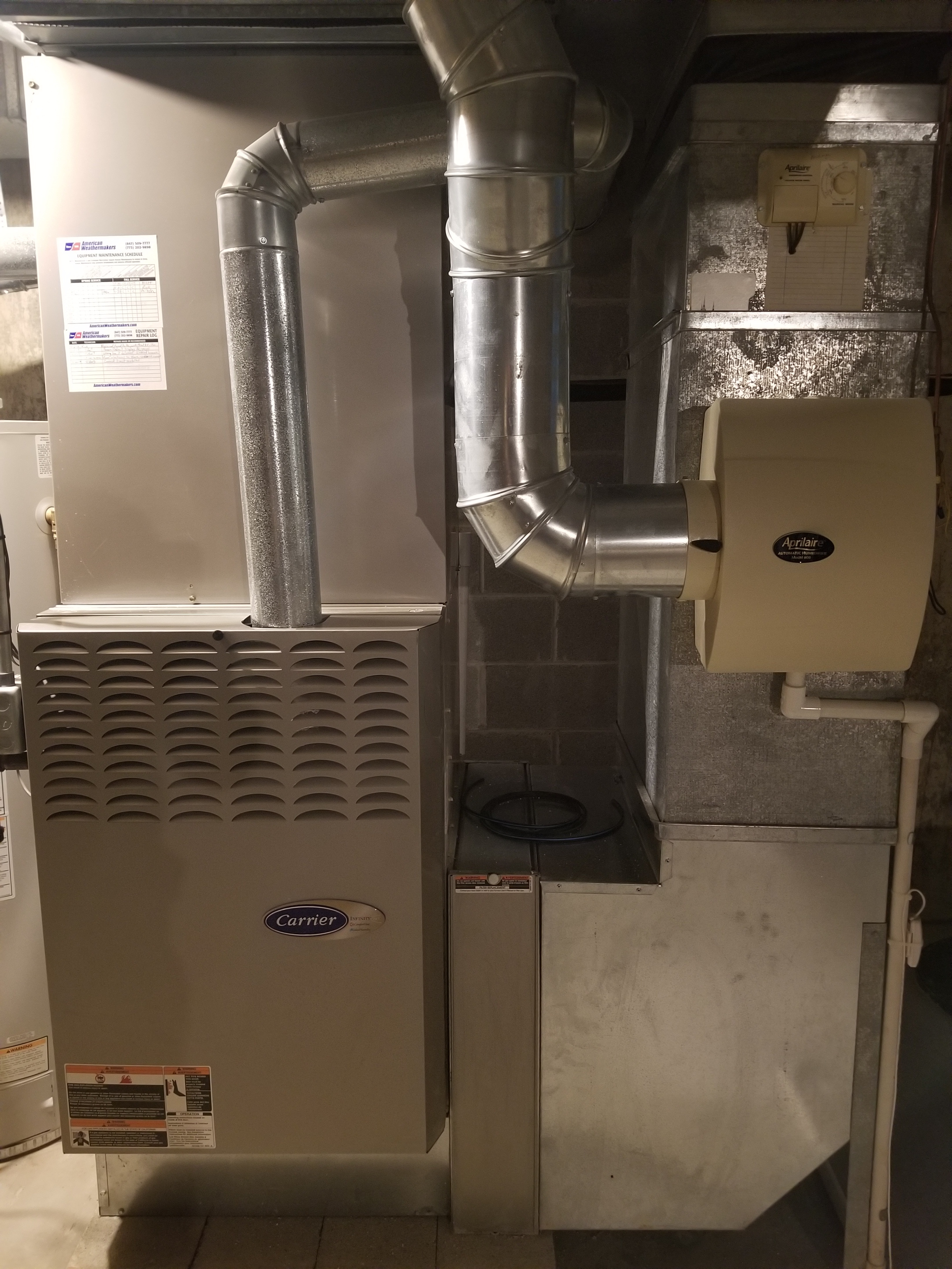 Repaired the Carrier furnace and Aprilaire humidifier and made adjustments to improve the overall efficiency and life expectancy of the equipment