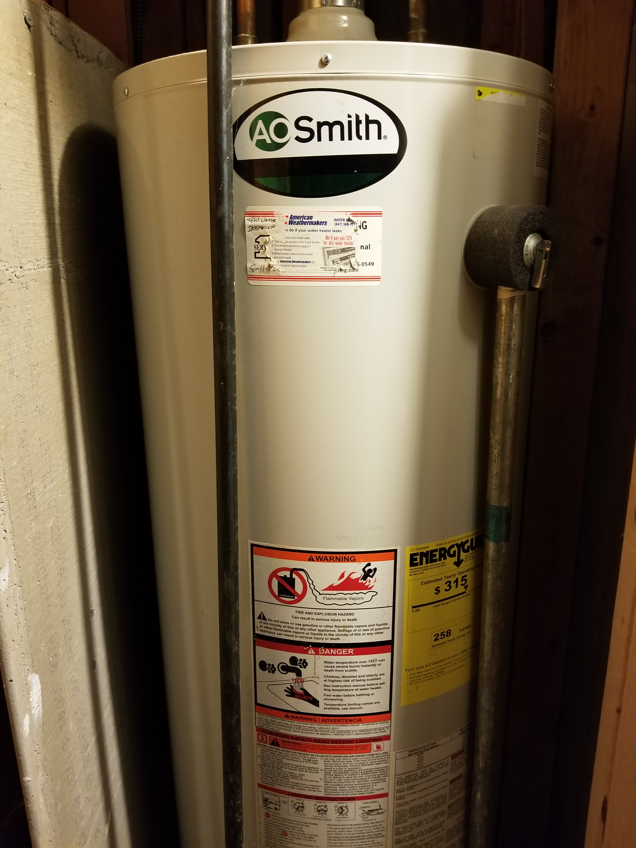 Repaired the A.O.Smith  water heater and made adjustments to improve the overall efficiency and life expectancy of the equipment