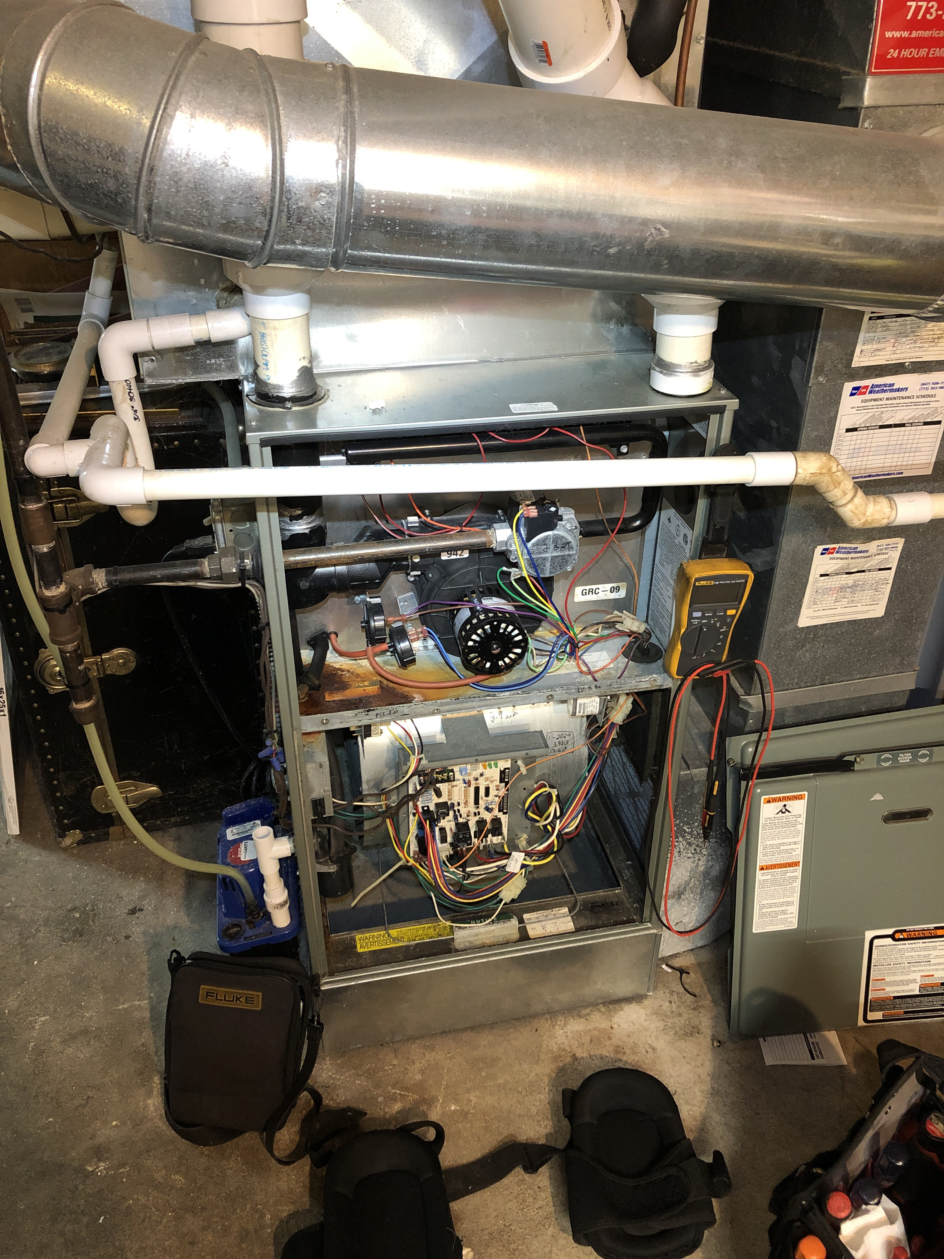Rheem furnace and Aprilaire humidifier winter service.