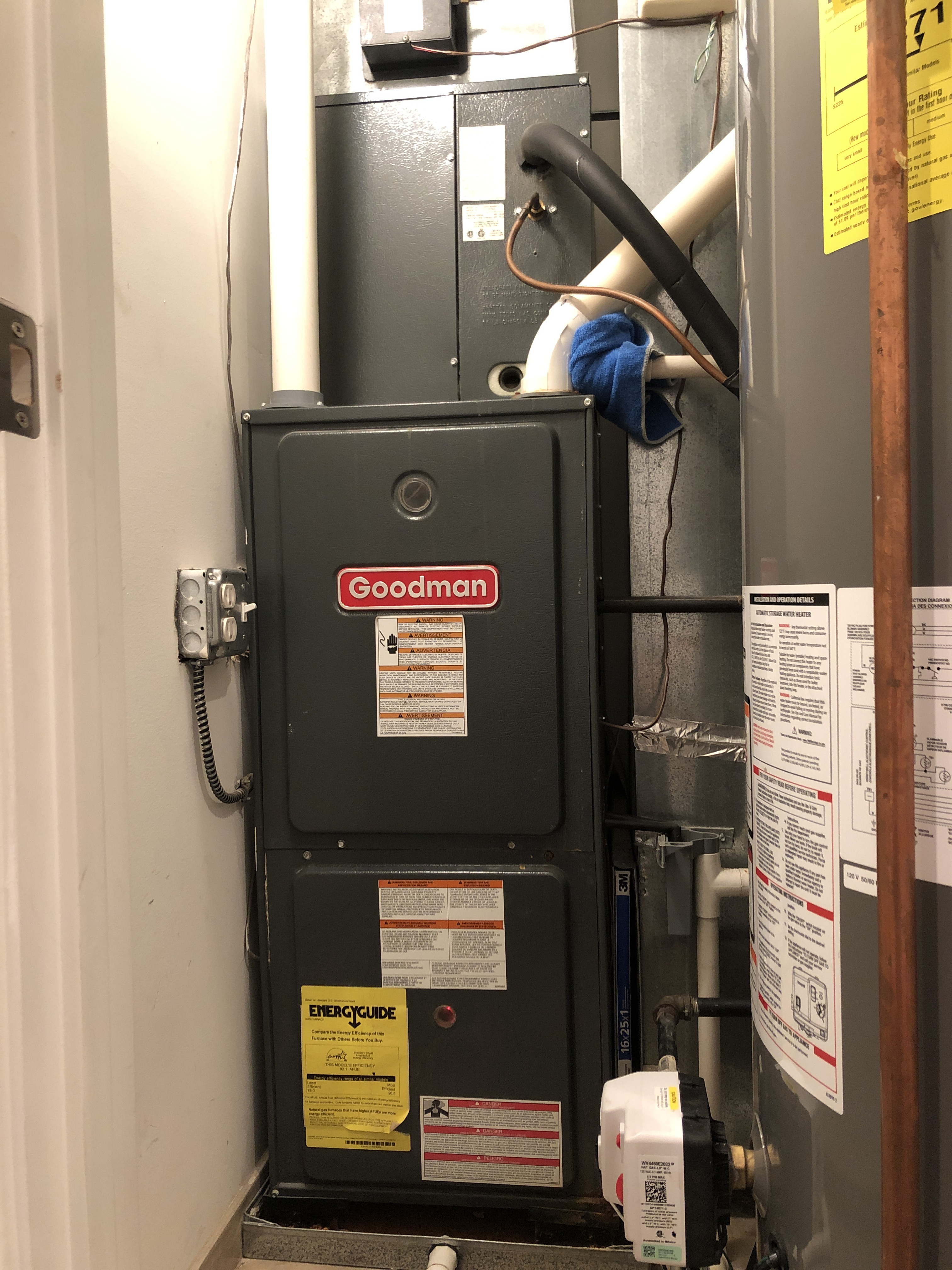 Arrived on call for no heat and thermostat issue. Found furnace in rollout lockout. Cycled unit after resetting and didn't see any flame issues present. Took reading on everything. Also found coil plugged causing a high limit issue. Recommended customer on replacing unit over coil due to age.