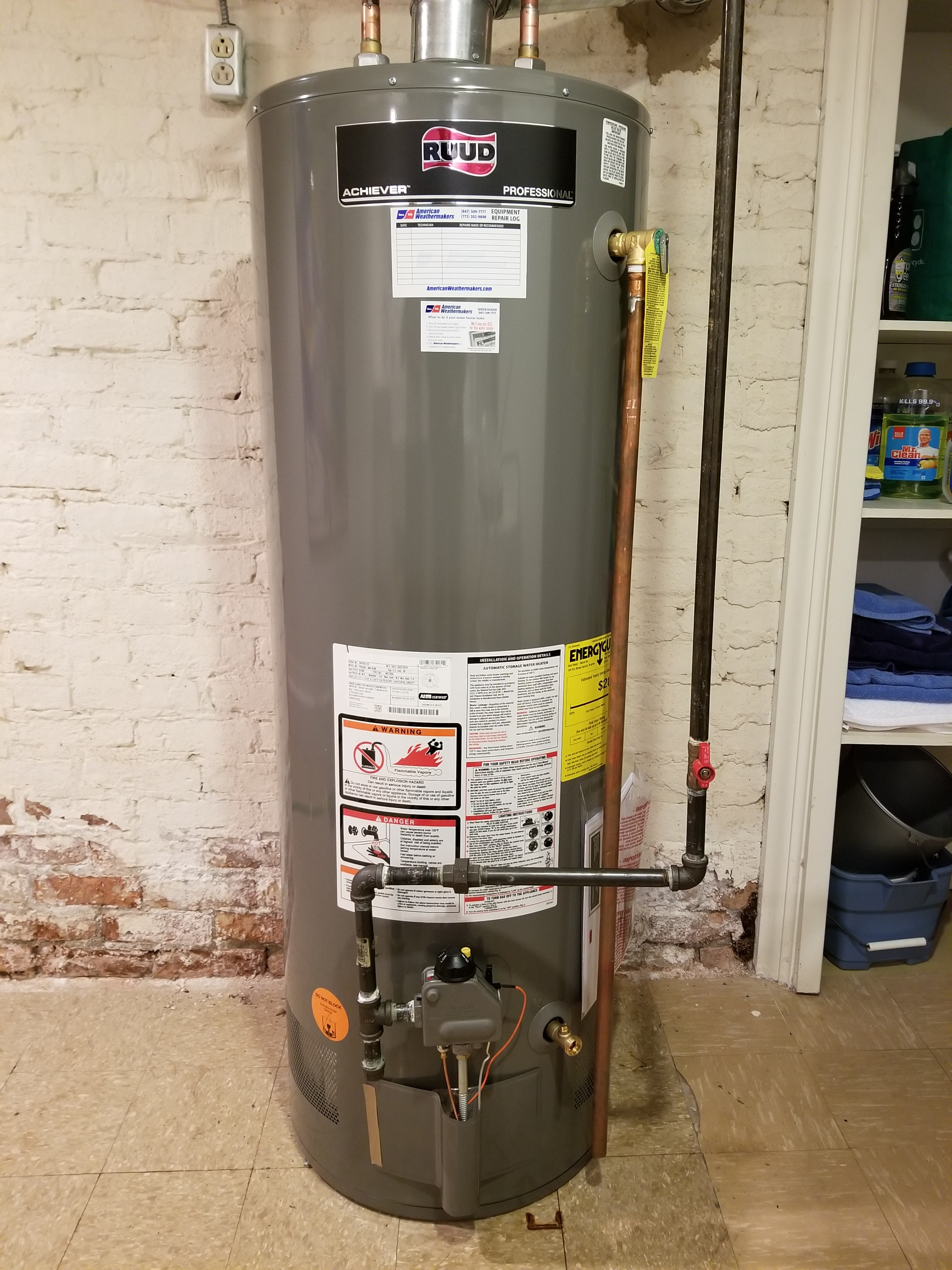 Installed a new more efficient Ruud water heater.