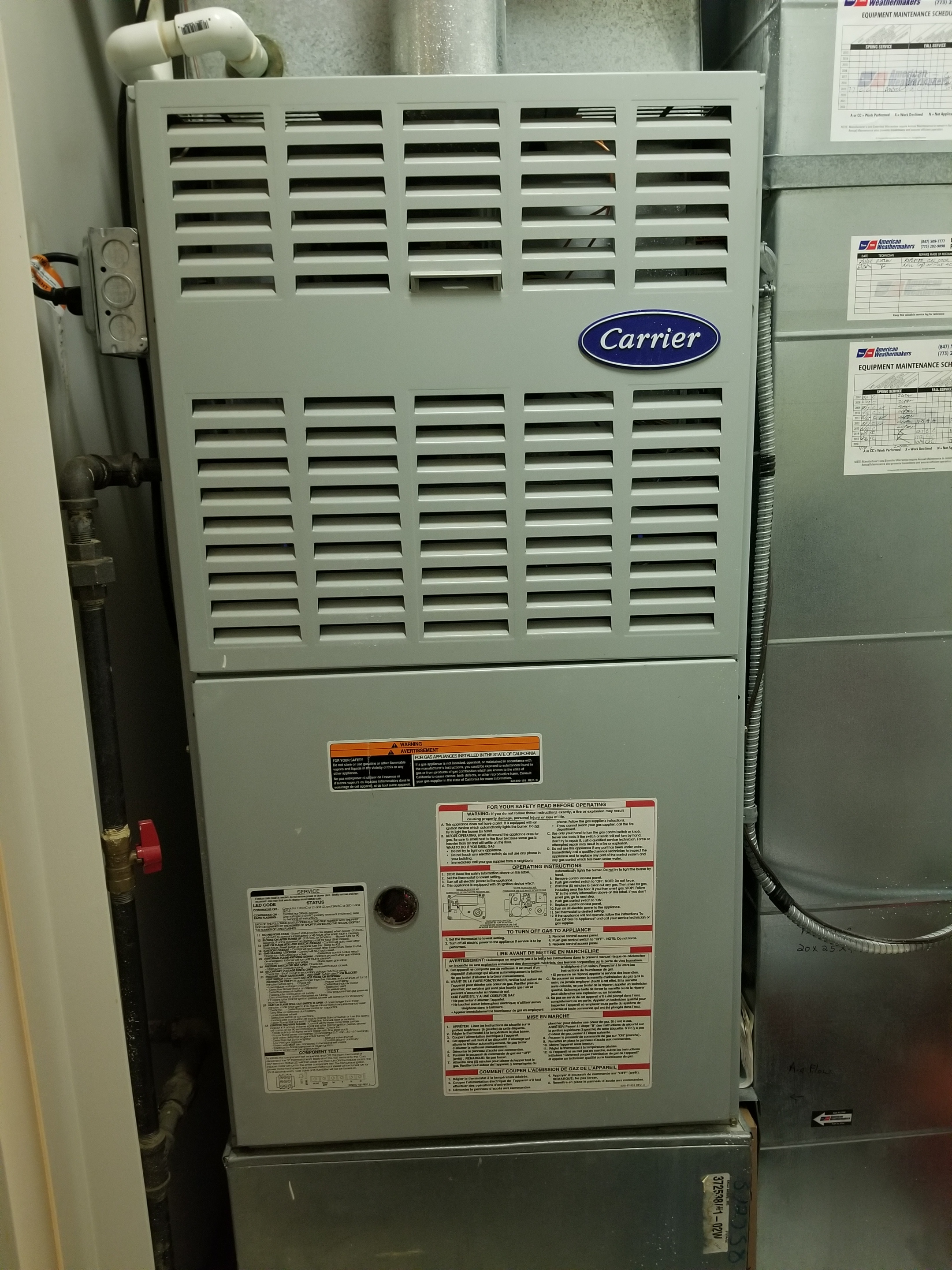 Repaired the Carrier furnace and made adjustments to improve the overall efficiency and life expectancy of the equipment.