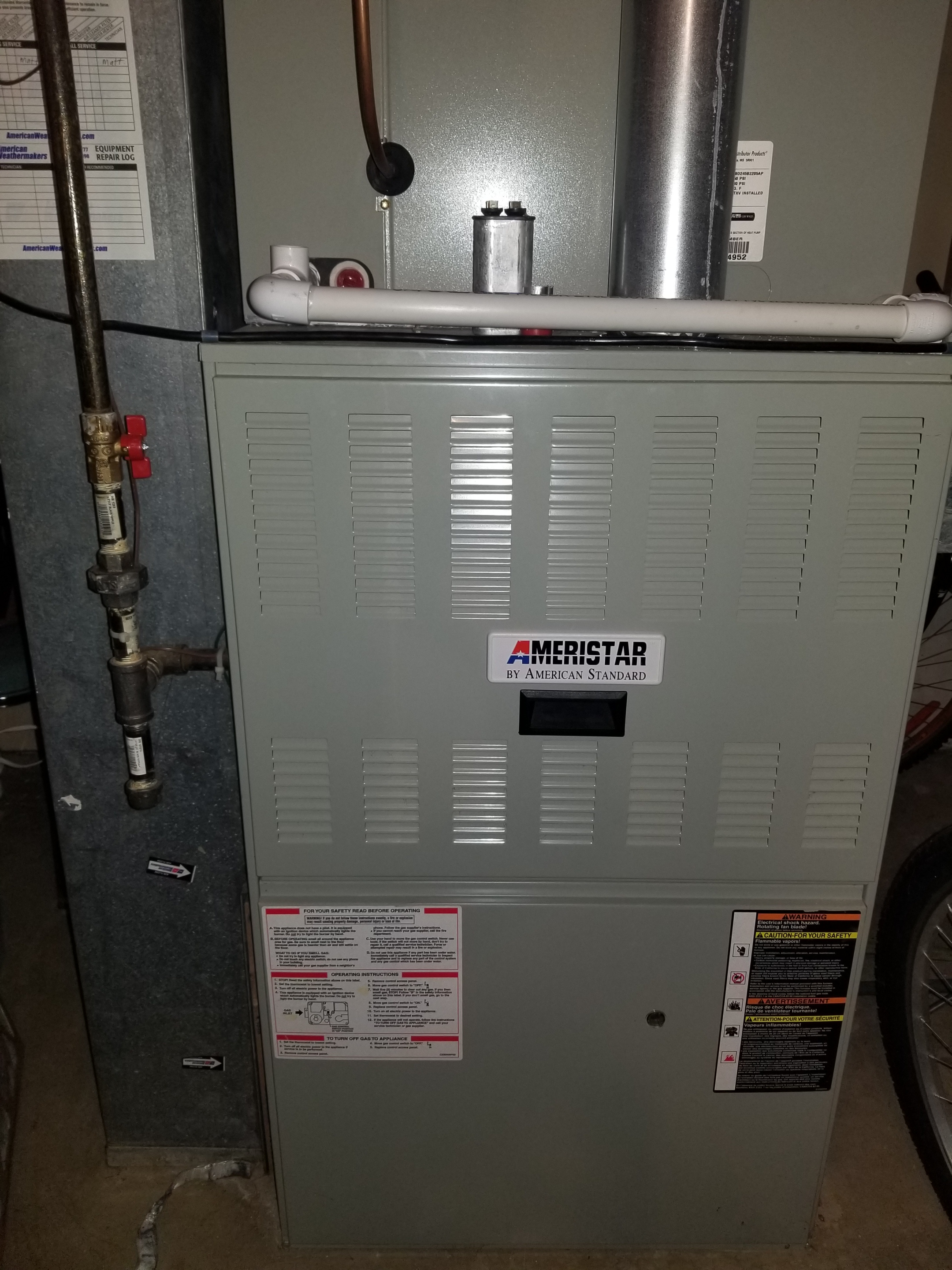 Performed annual maintenance on the American Standard furnace and made adjustments to improve the overall efficiency and life expectancy of the equipment