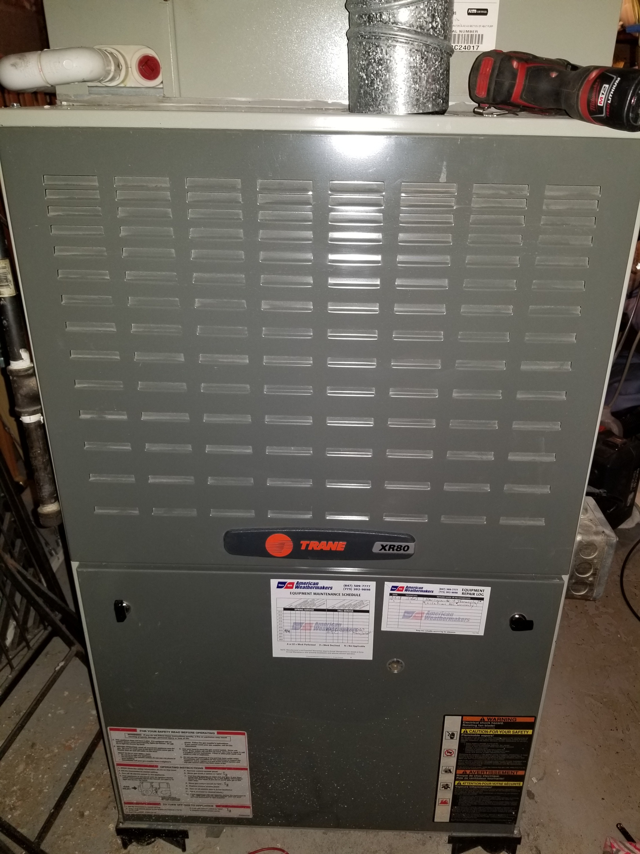 Repaired the Trane furnace and made adjustments to improve the overall efficiency and life expectancy of the equipment.