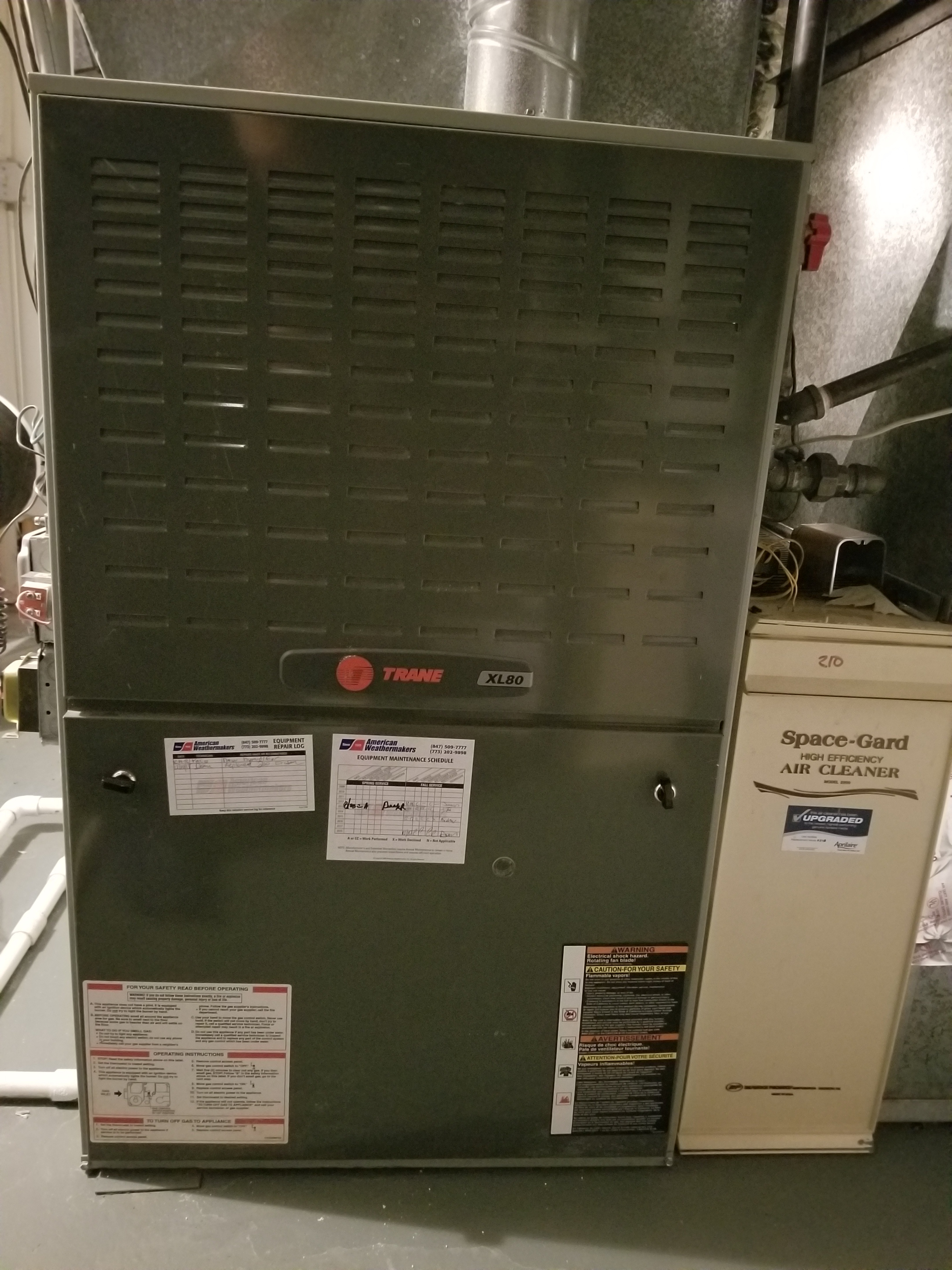 Performed annual maintenance on the Trane furnace and Aprilaire air filter, made adjustments to improve the overall efficiency and life expectancy of the equipment