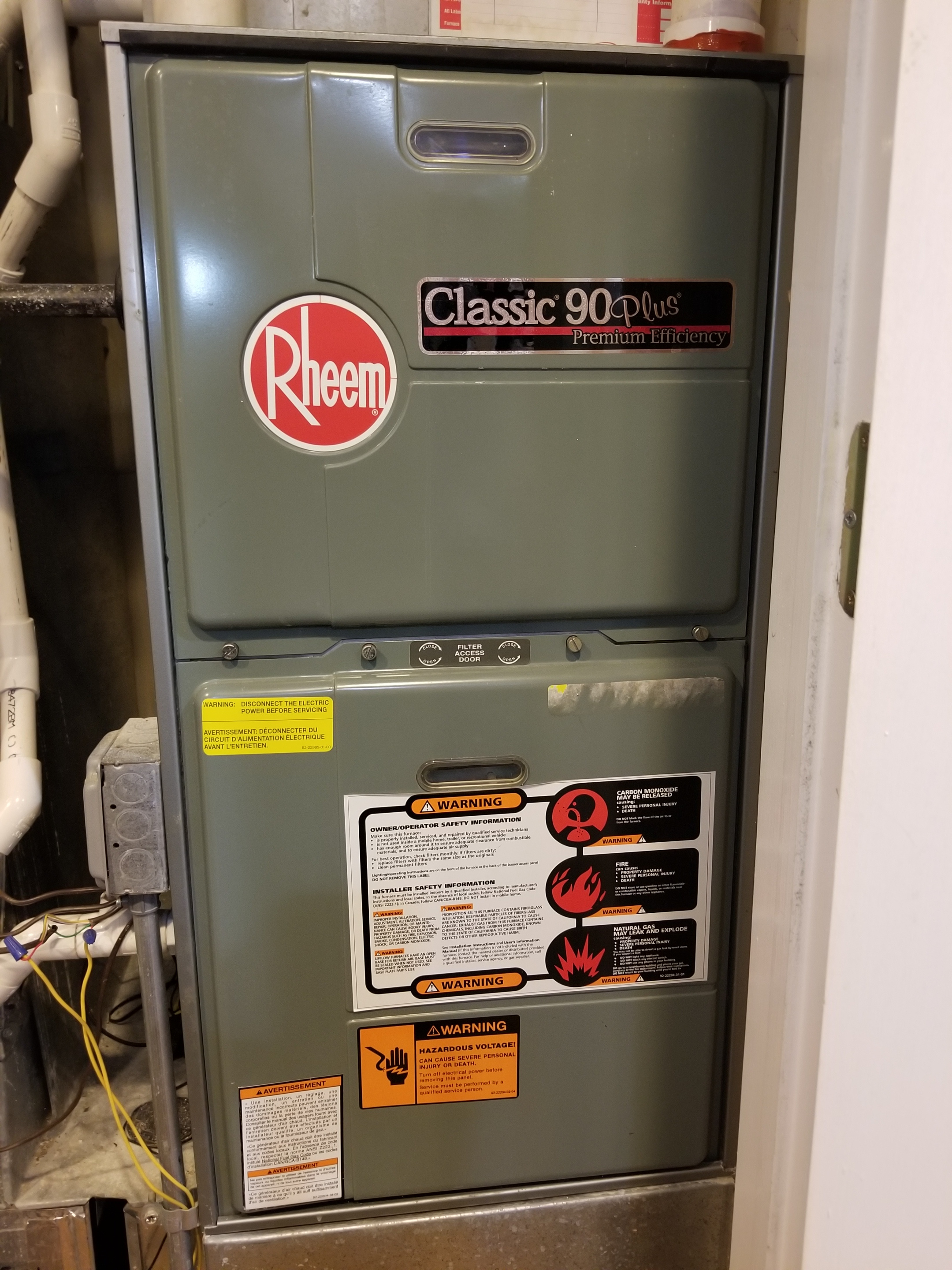 Repaired the Rheem furnace and made adjustments to improve the  efficiency and life expectancy of the equipment