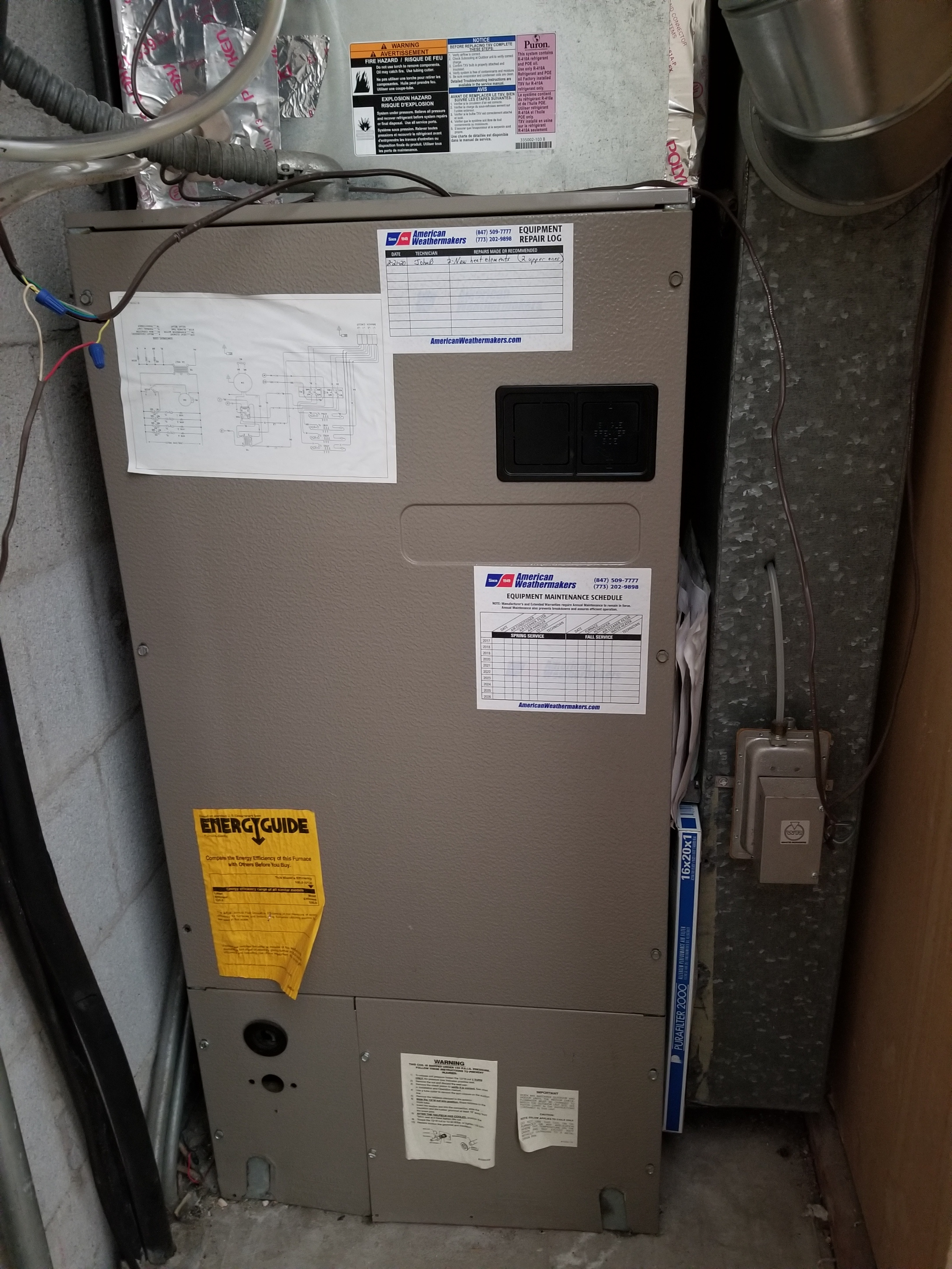 Repaired the electric heat furnace and made adjustments to improve the efficiency and life expectancy of the equipment