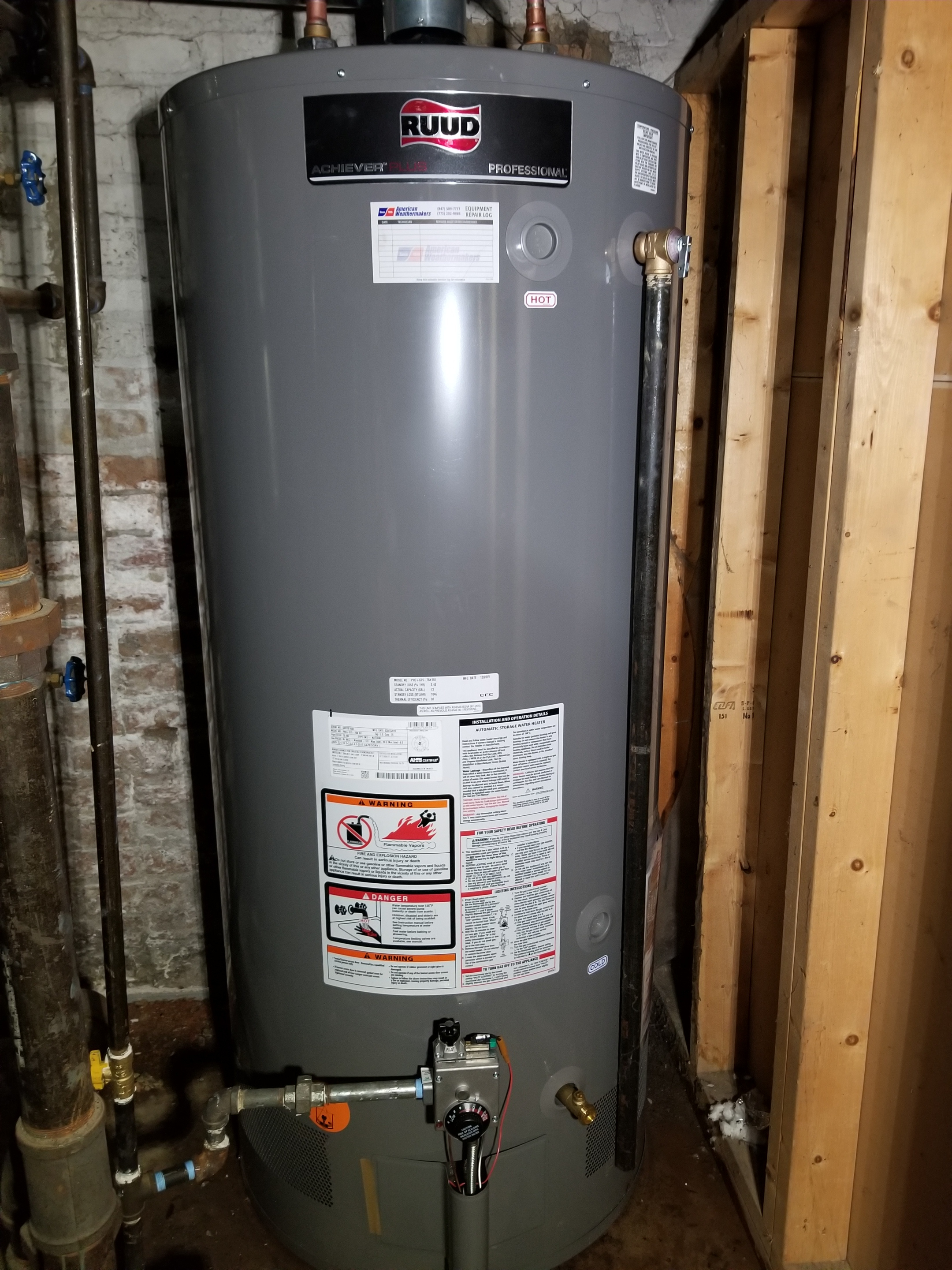 Installed a new Ruud water heater.