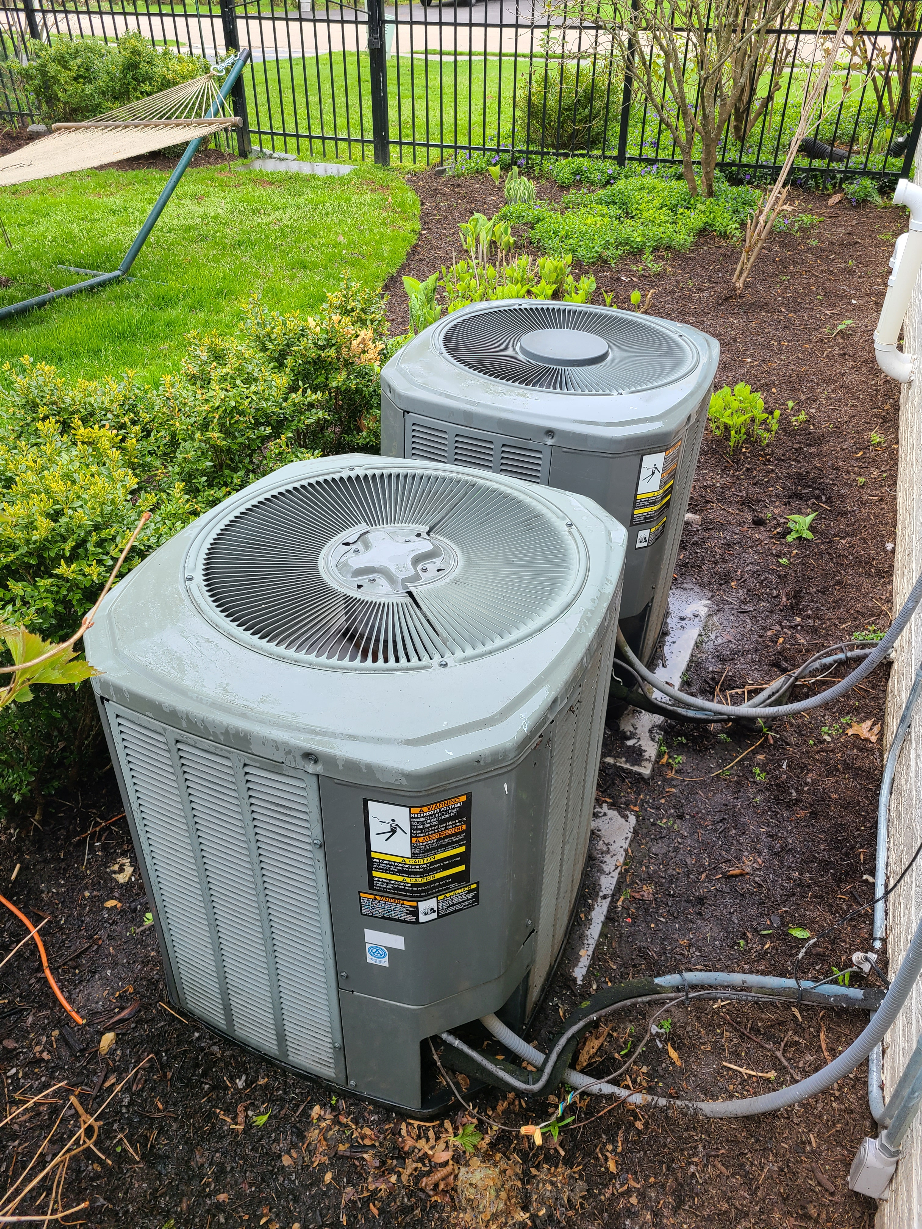 Two Trane air conditioning systems cleaned and checked, repairing to make ready for summer.