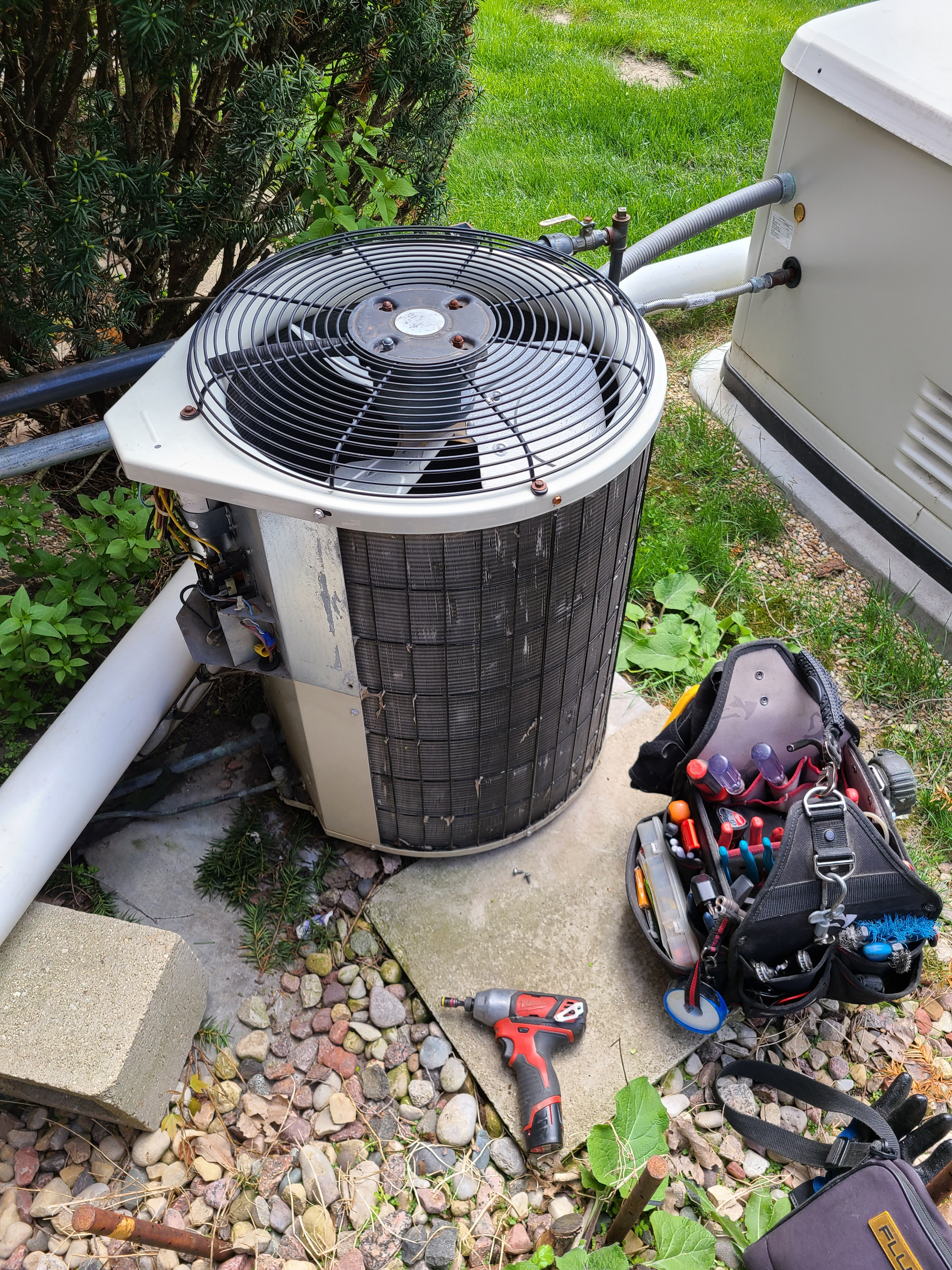 Payne air conditioning system cleaned and checked, ready for spring.
