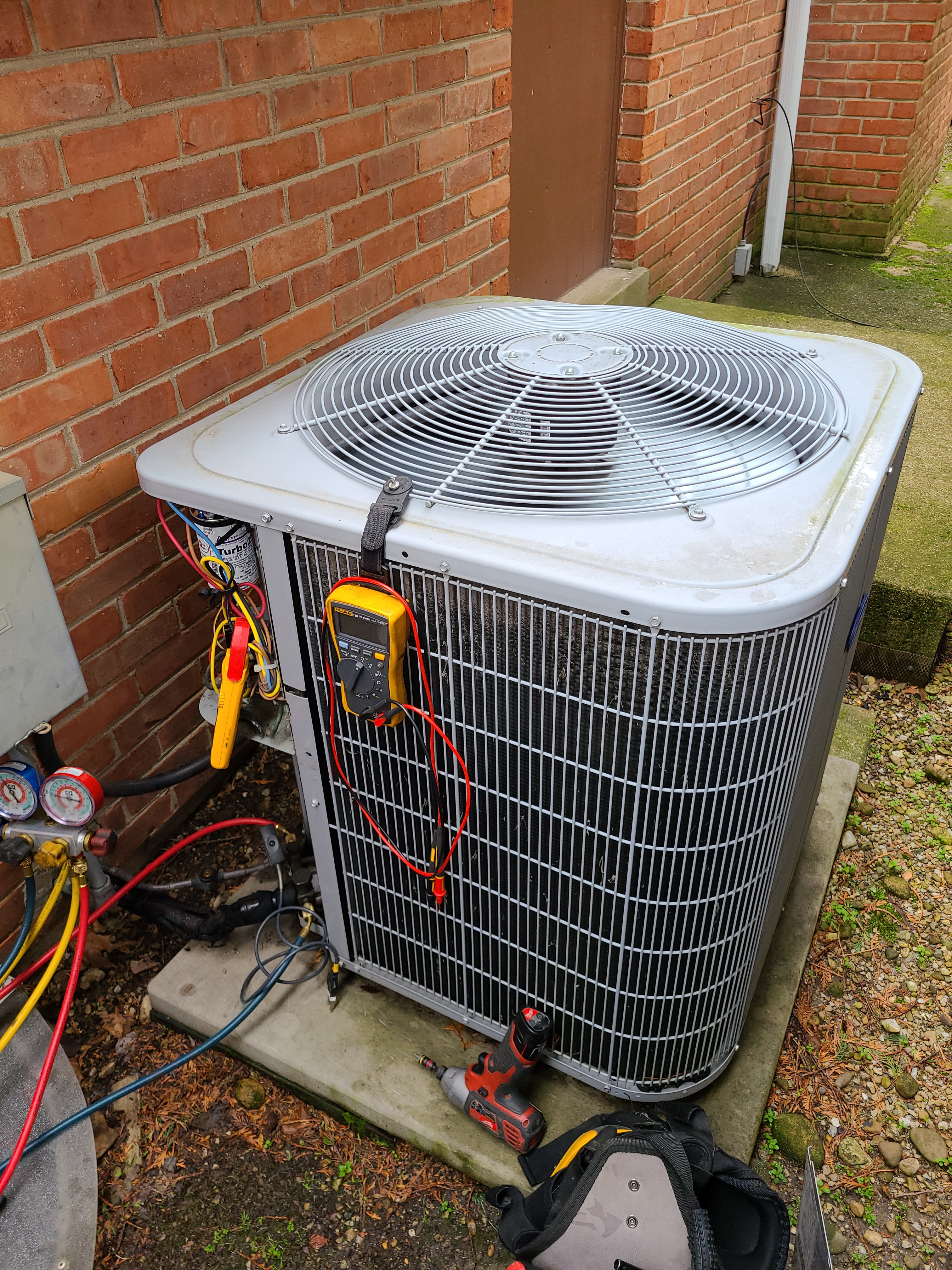 Carrier air conditioning system cleaned and checked, ready for spring.