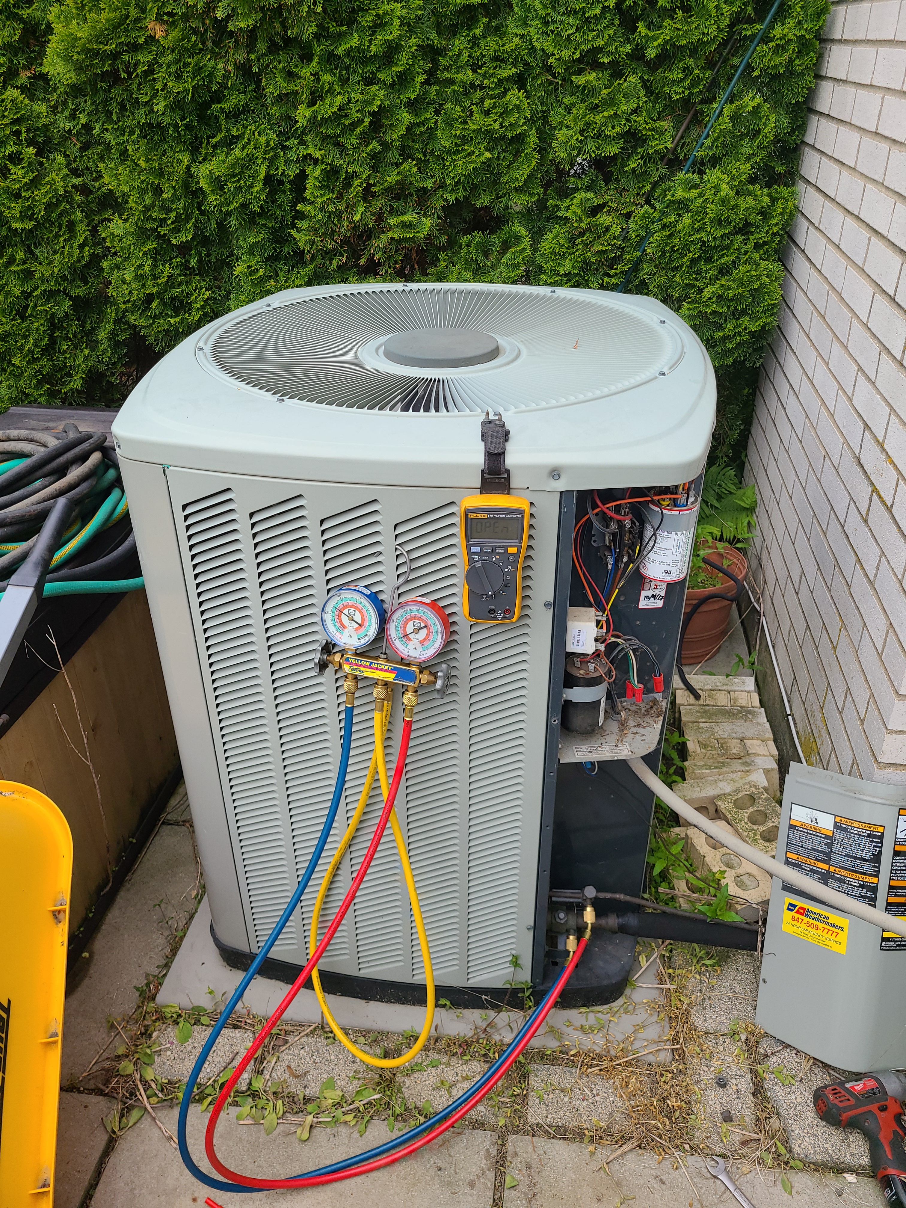 Trane air conditioning system cleaned and checked, ready for spring.