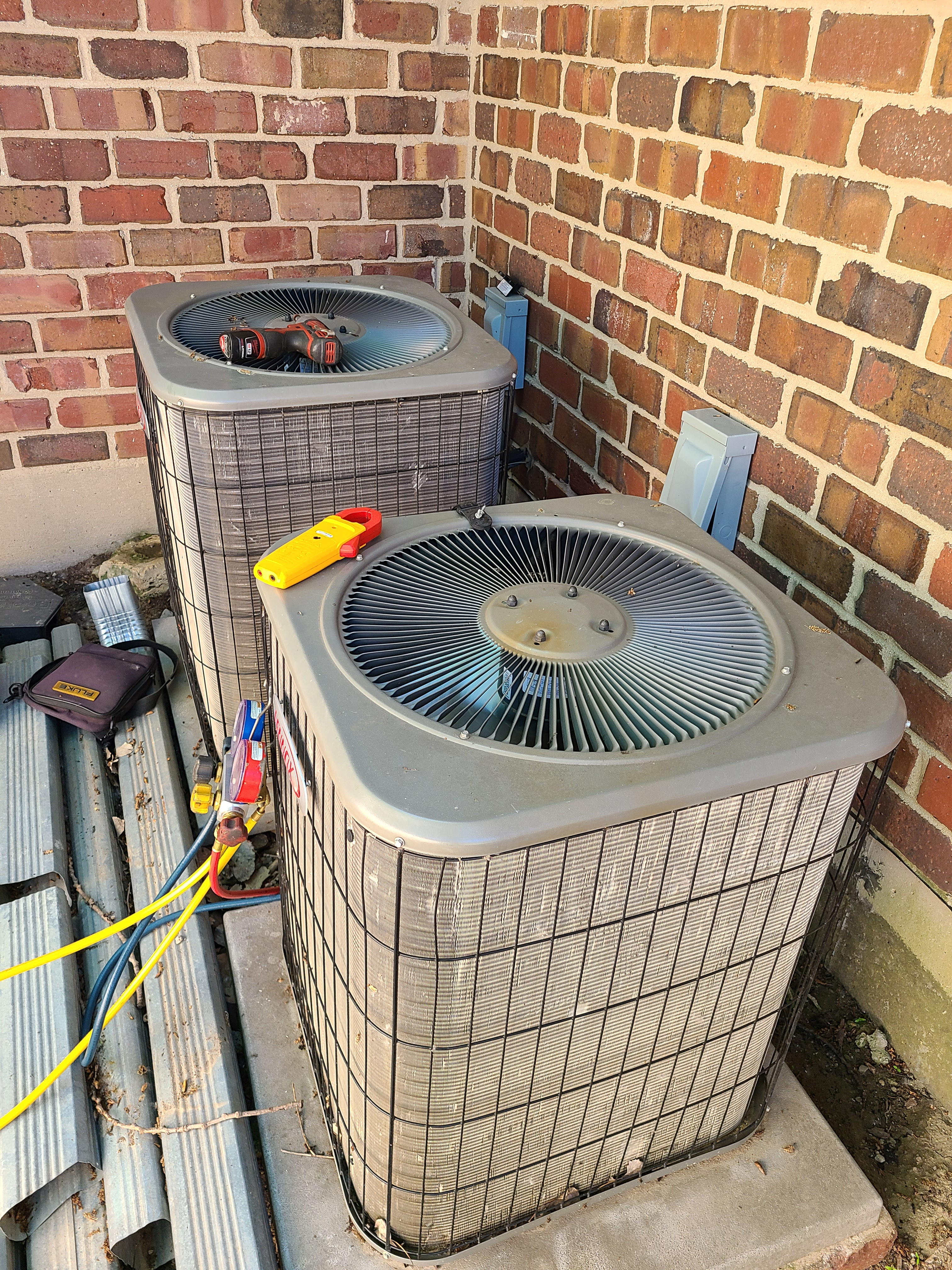 Two Lennox air conditioning system cleaned and checked. Ready for summer!