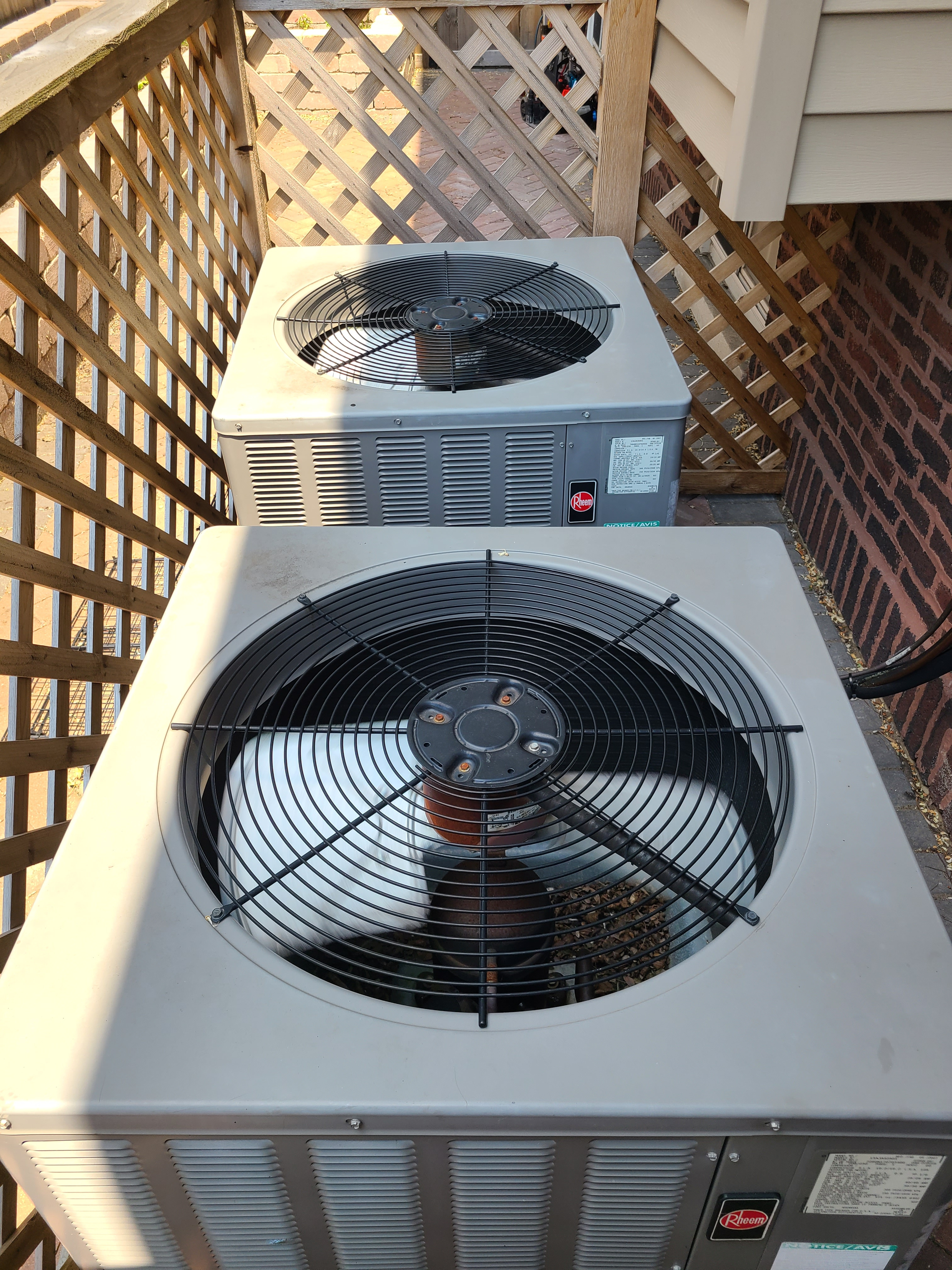 Two Rheem air conditioning system cleaned and checked. Ready for summer