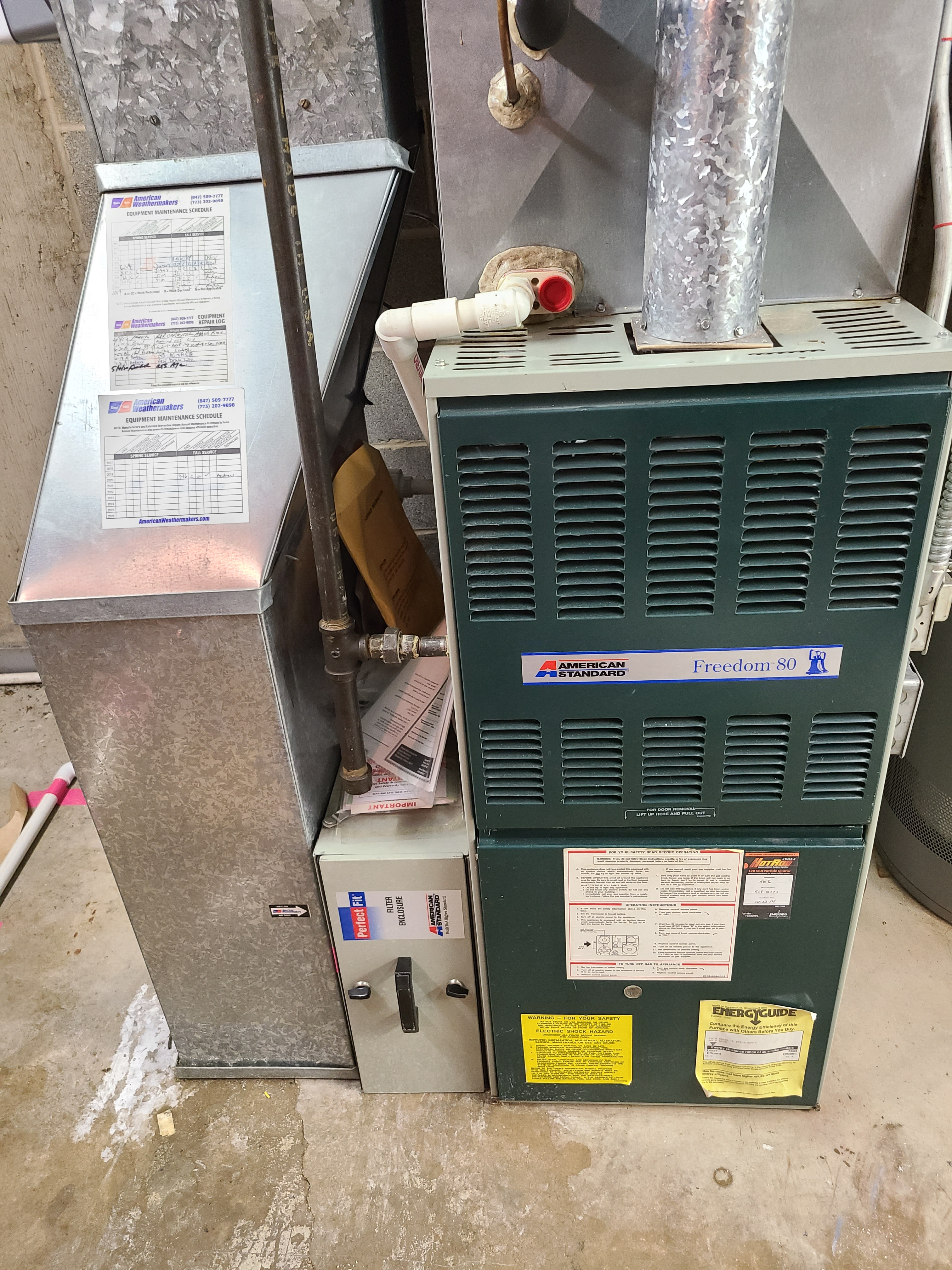 Heat and humidifier maintenance for valued customer. American Standard equipment.