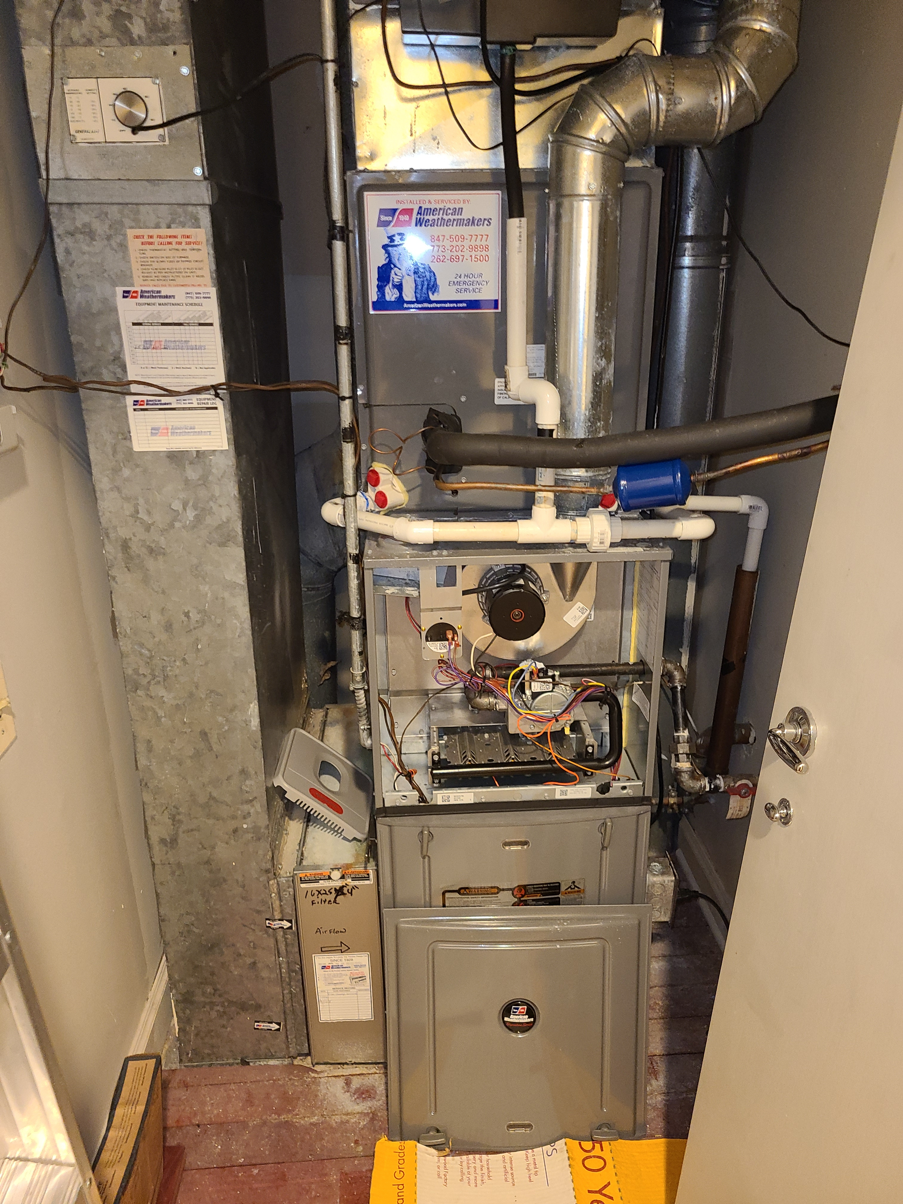 Ruud furnace, fall service. System cleaned and checked and ready for winter.