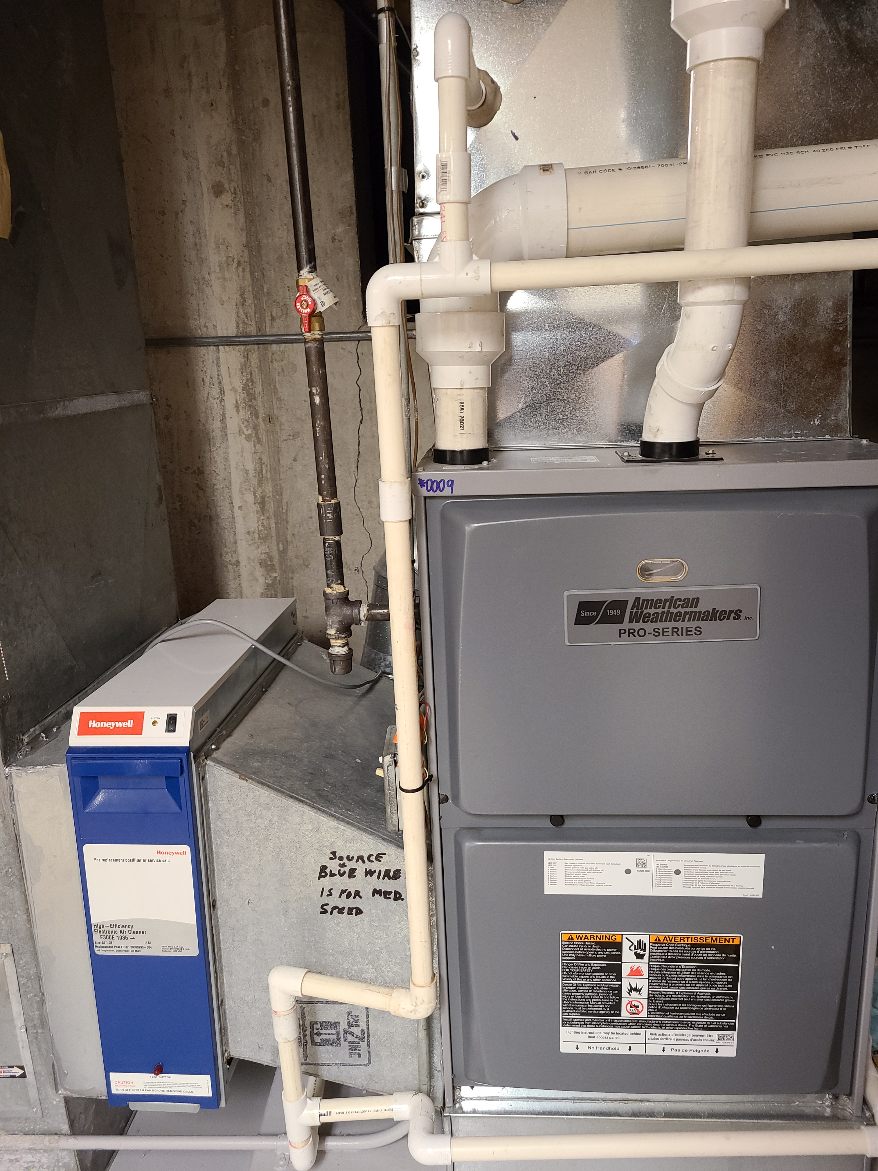 Performed annual maintenance on the American Weathermakers furnace, Honeywell air cleaner and Aprilaire humidifiers. Made adjustments to improve the efficiency and life expectancy of the equipment.