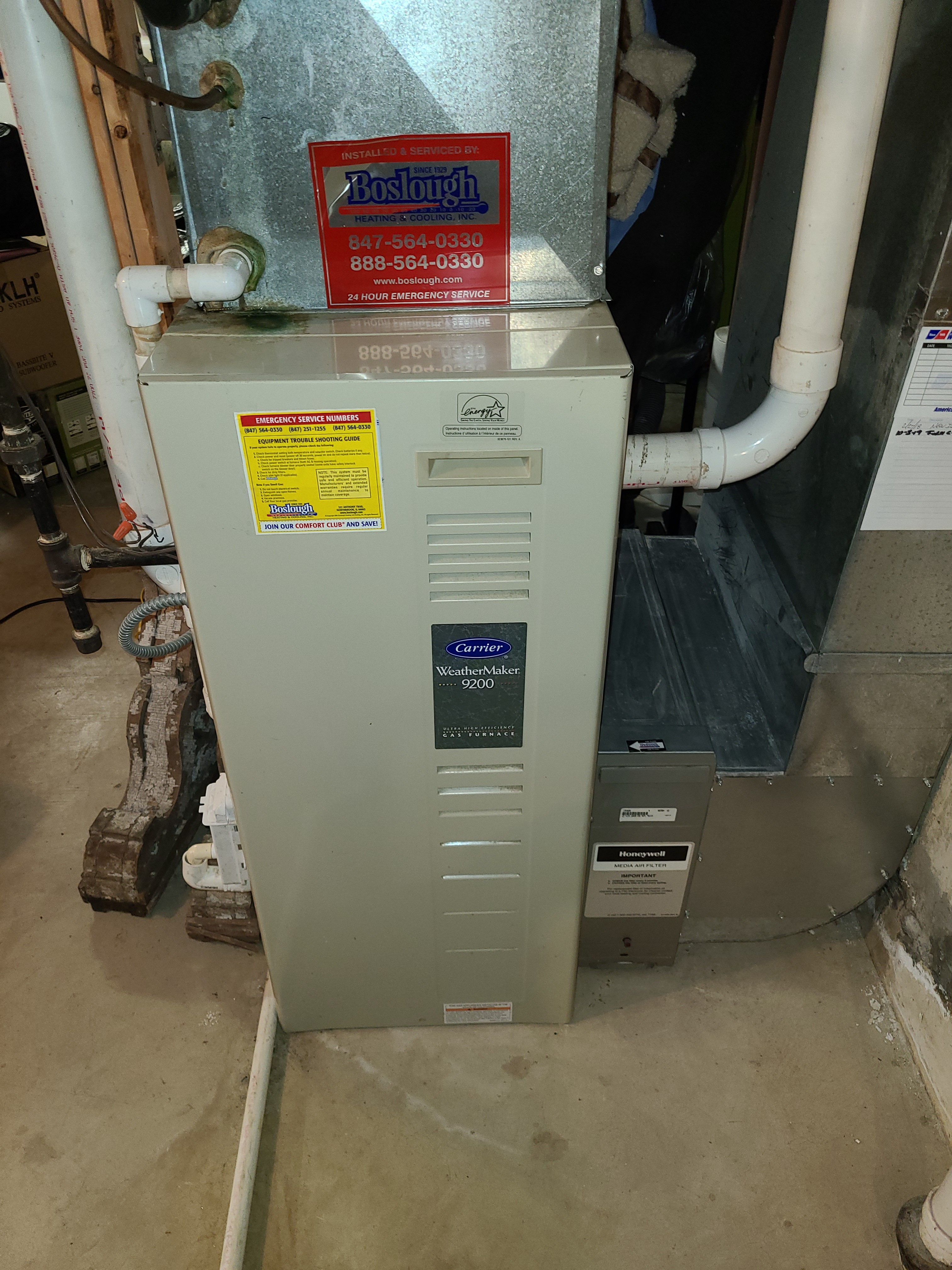 Carrier furnace fall maintenance.  System cleaned and checked and ready for winter.