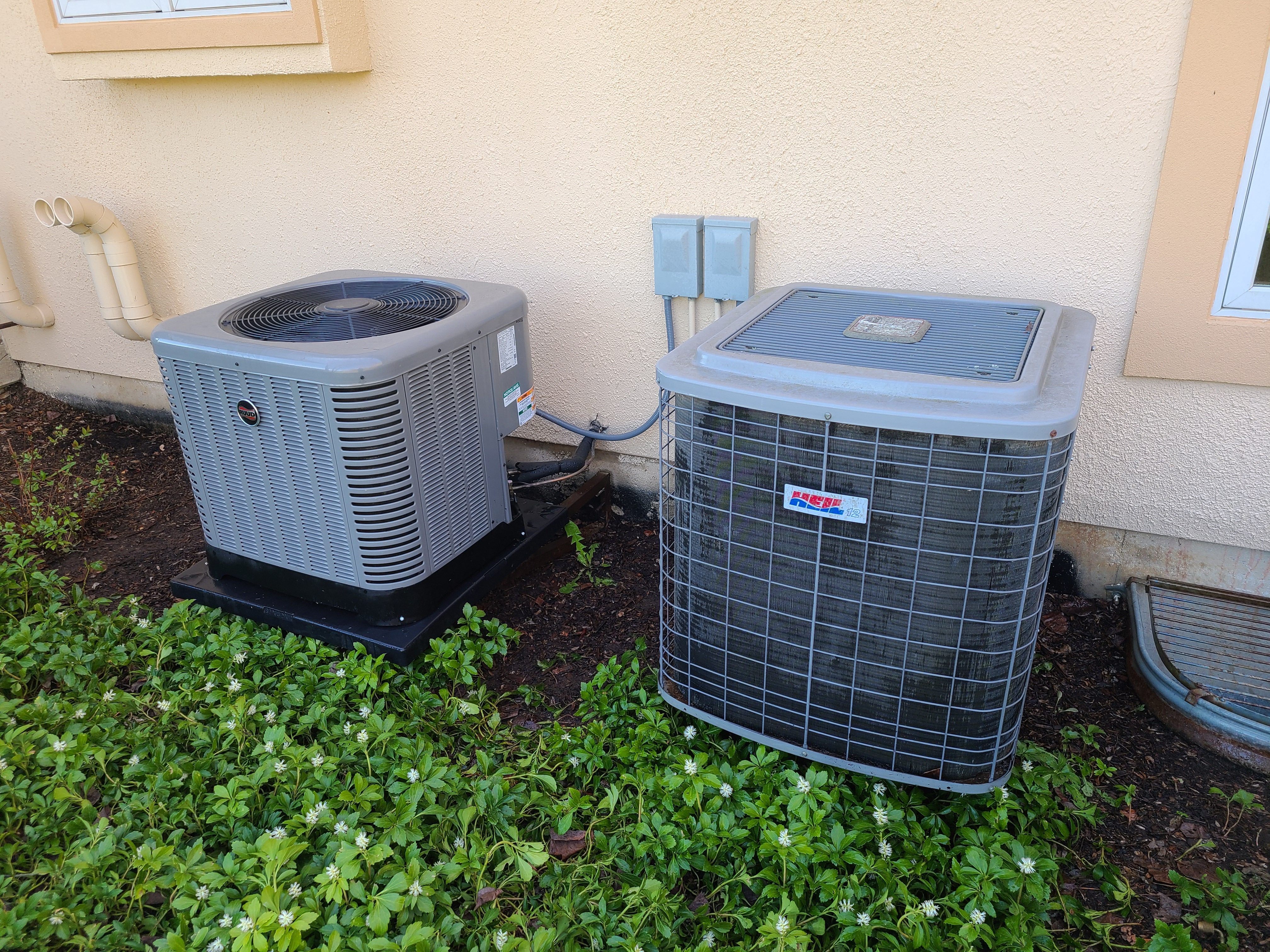 Performed routine maintenance on a RUUD and HEIL 12 system. Checked temperatures, pressures, volts, amperage and microfarats. Washed the condenser coils for both units.
