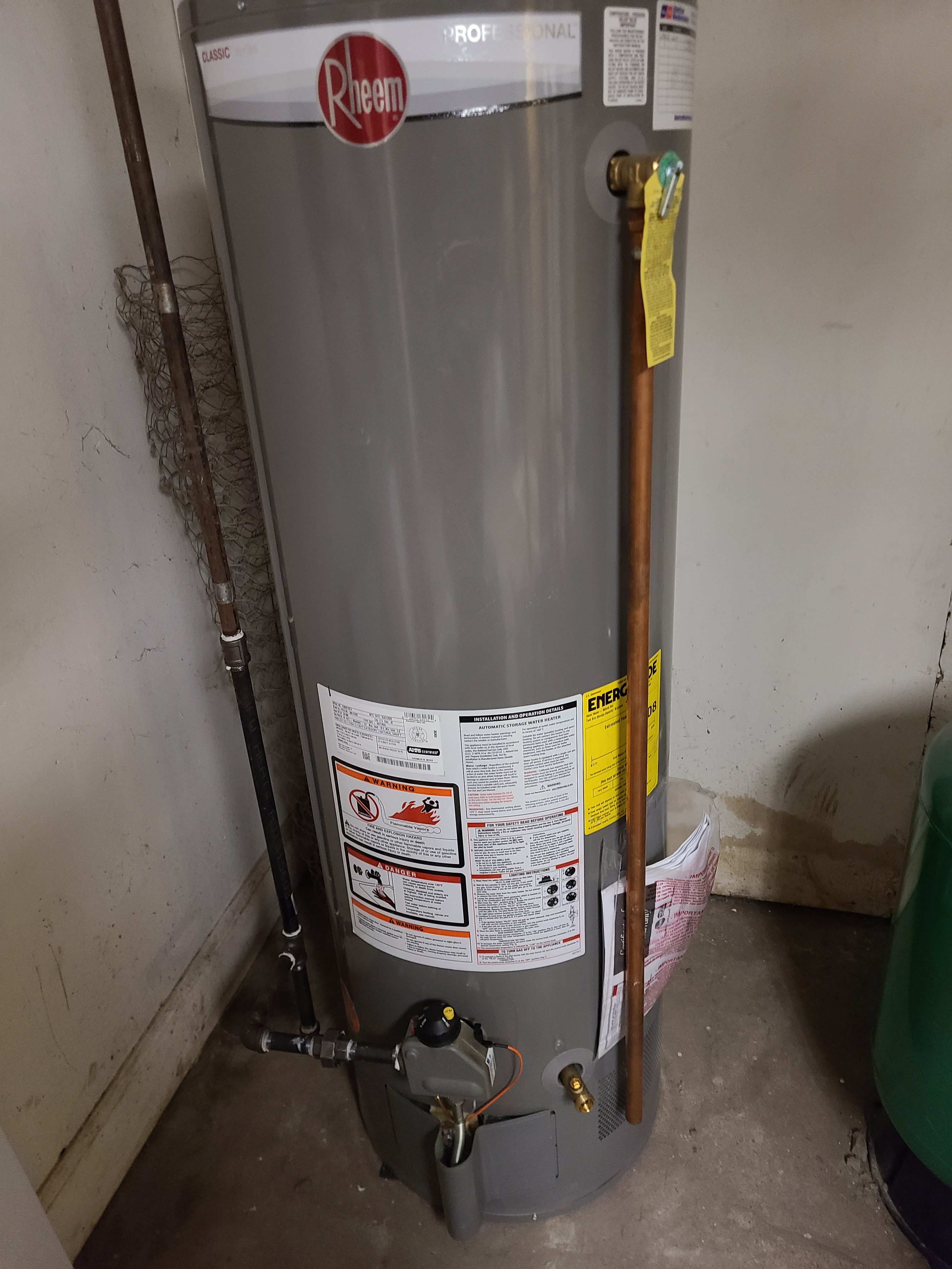 RHEEM water heater with gas valve issues...up and running once again