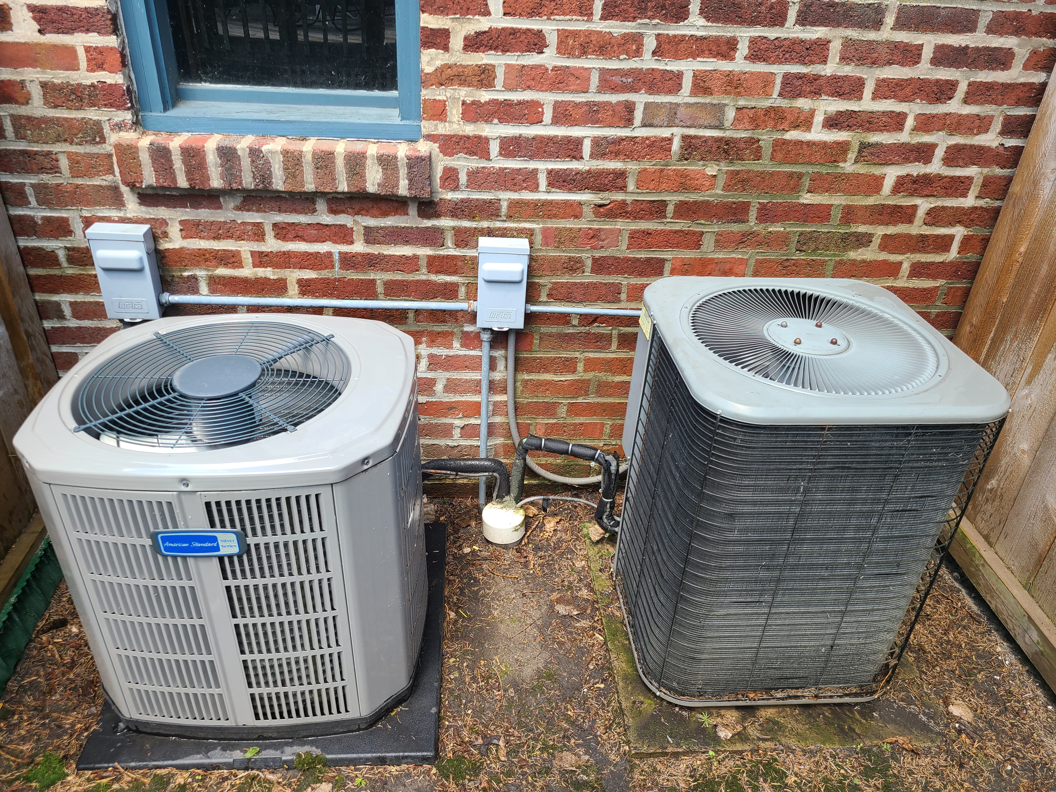 Performed routine maintenance on a Lennox and an American Standard unit. Checked voltage, amperage, temperatures, pressures, and microfarads. Washed condenser coils thoroughly.