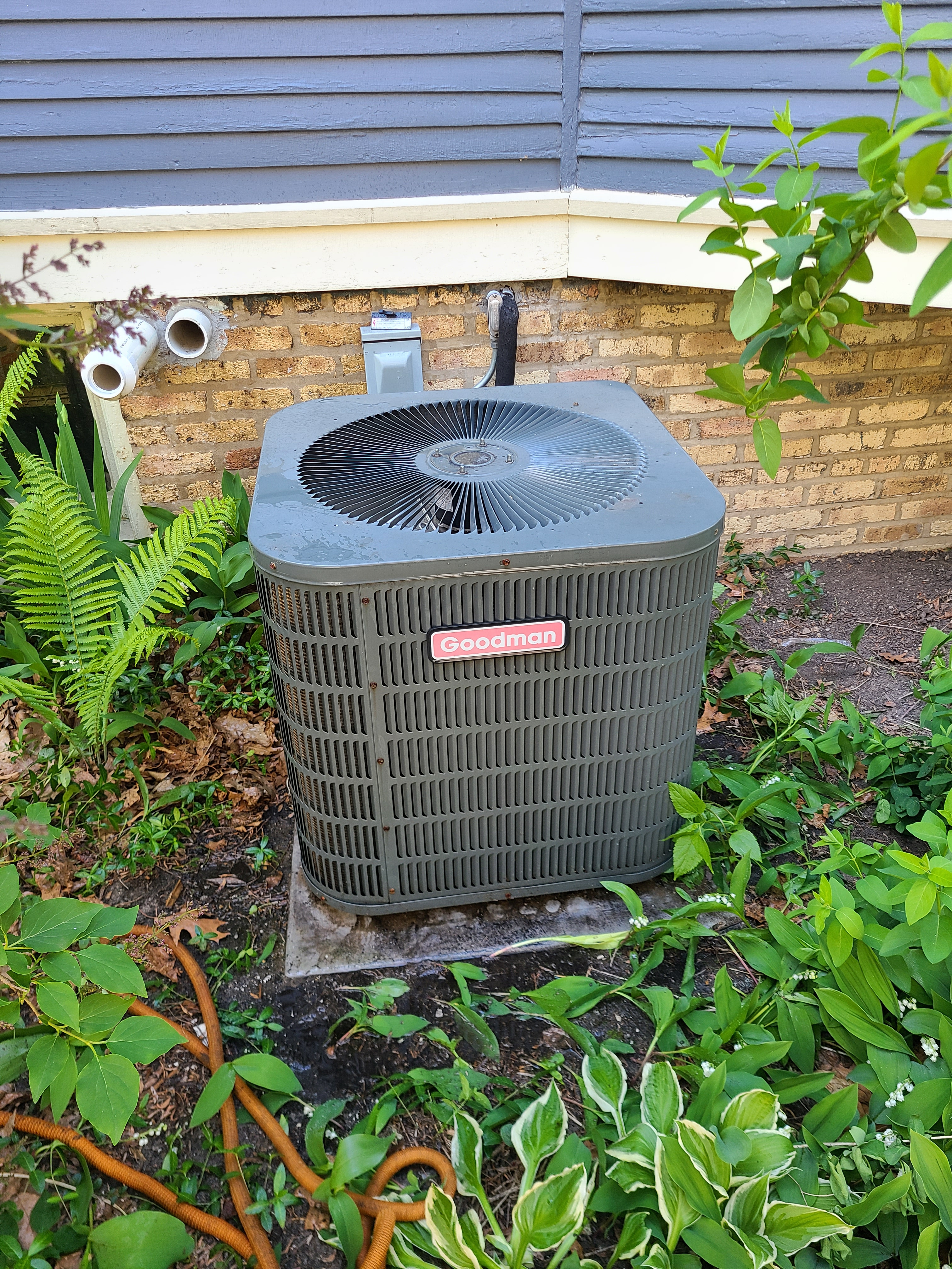 Goodman r22 system cleaned and ready for spring/ summer operation...replacement quote left for system using outdated ozone depleting refrigerant