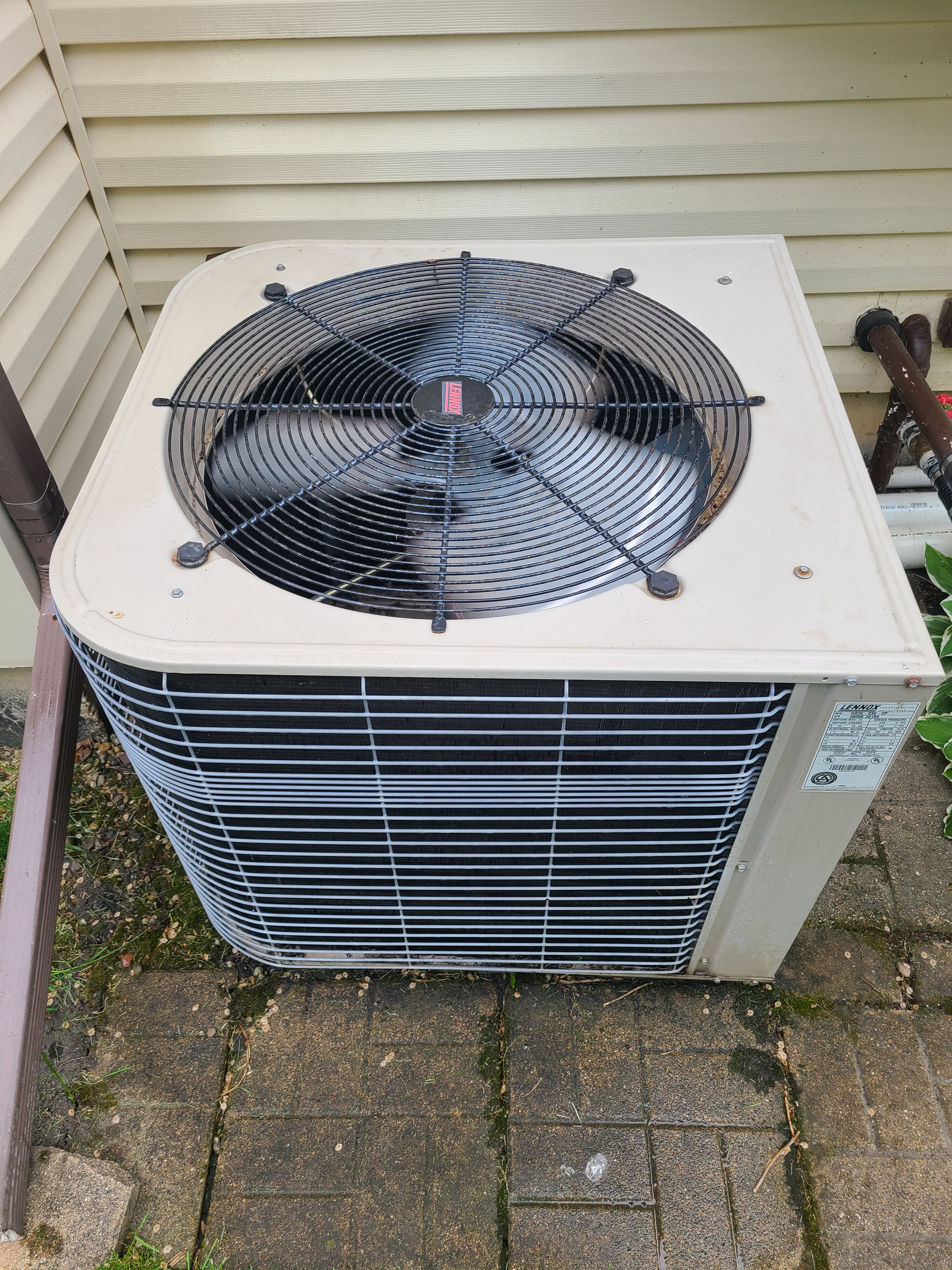 Performed routine maintenance on a Lennox R22 unit. Checked voltage, amperage, temperatures, pressures, and microfarads. Washed condenser coil thoroughly.