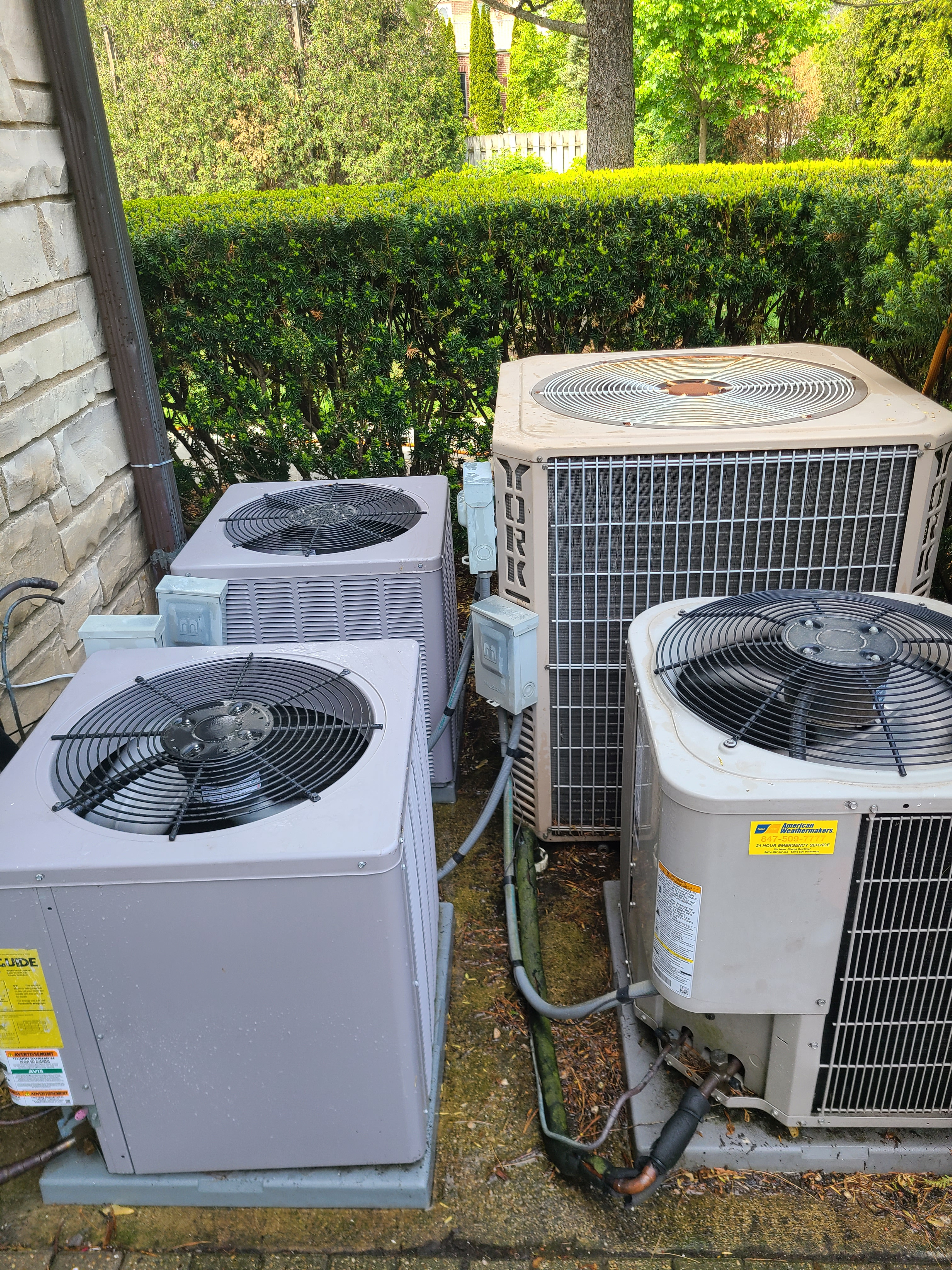 4units serviced ...2 needed refrigerant 1needed minor wiring issues addressed...cleaned and ready for spring/ summer operation