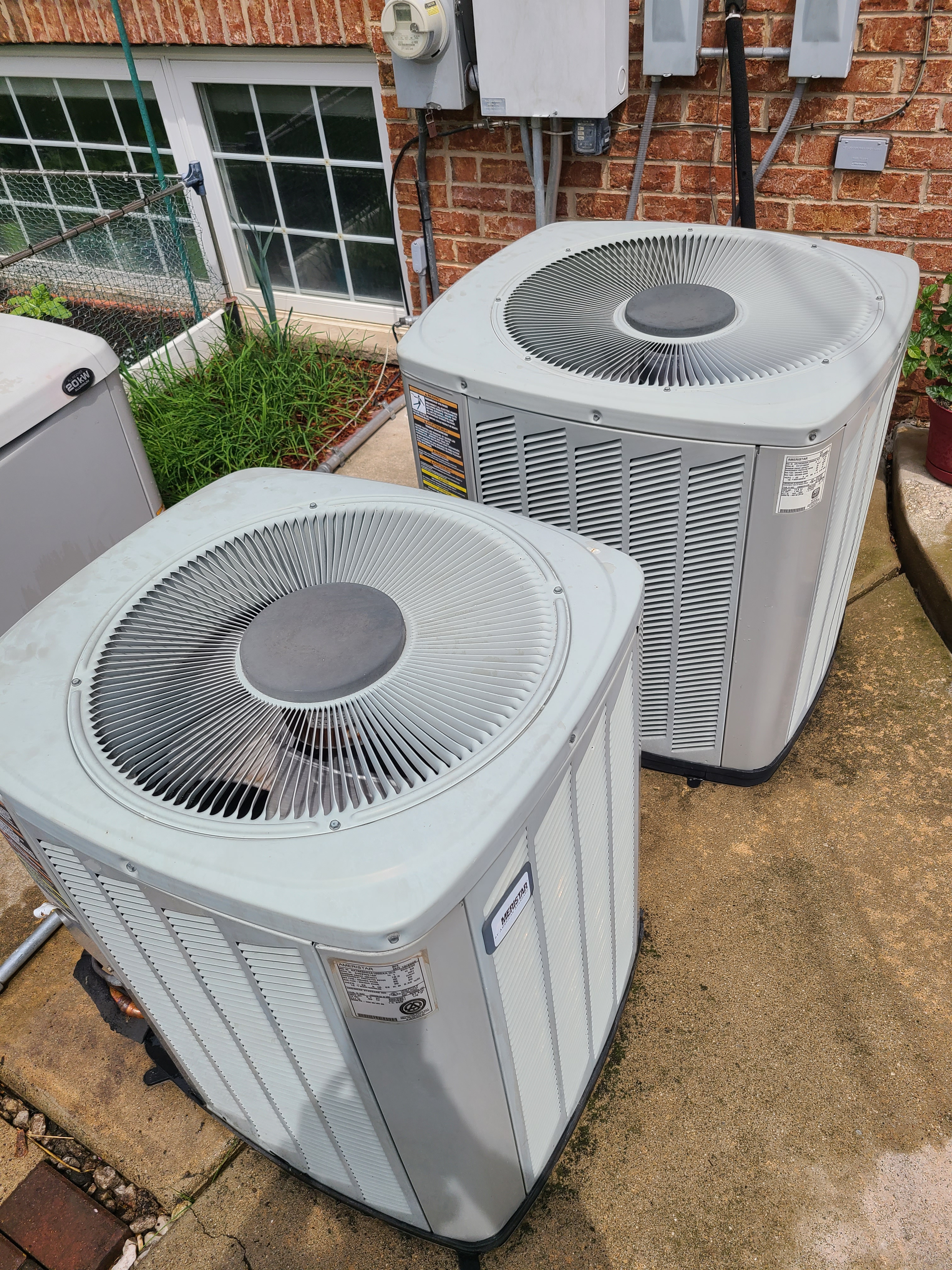 Performed routine maintenance on two American Standard R22 units. Checked voltage, amperage, temperatures, pressures and microfarads. Washed both condenser coils thoroughly.
