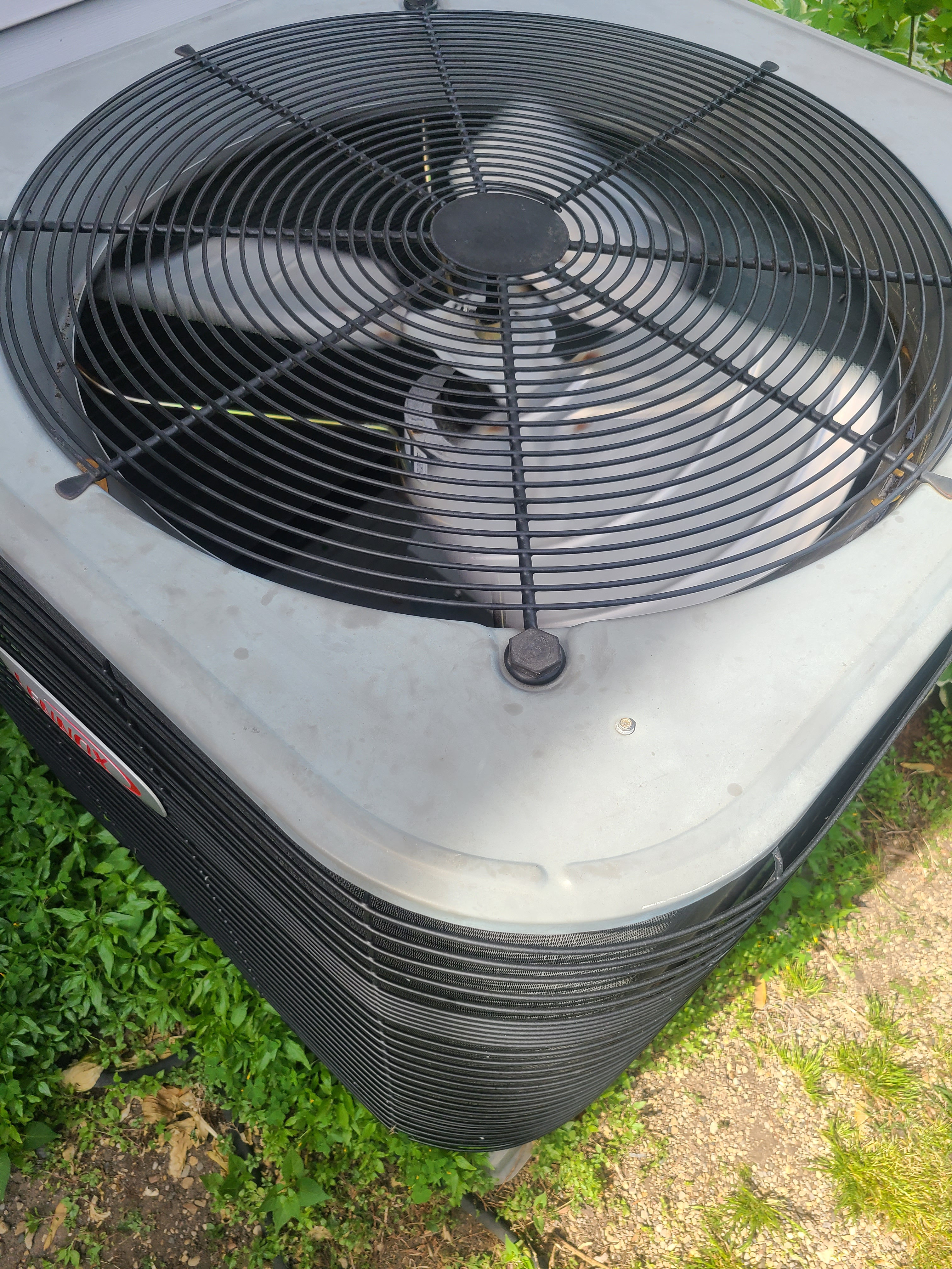 Stuck condenser fan motor. Oiled and freed up on Lennox AC