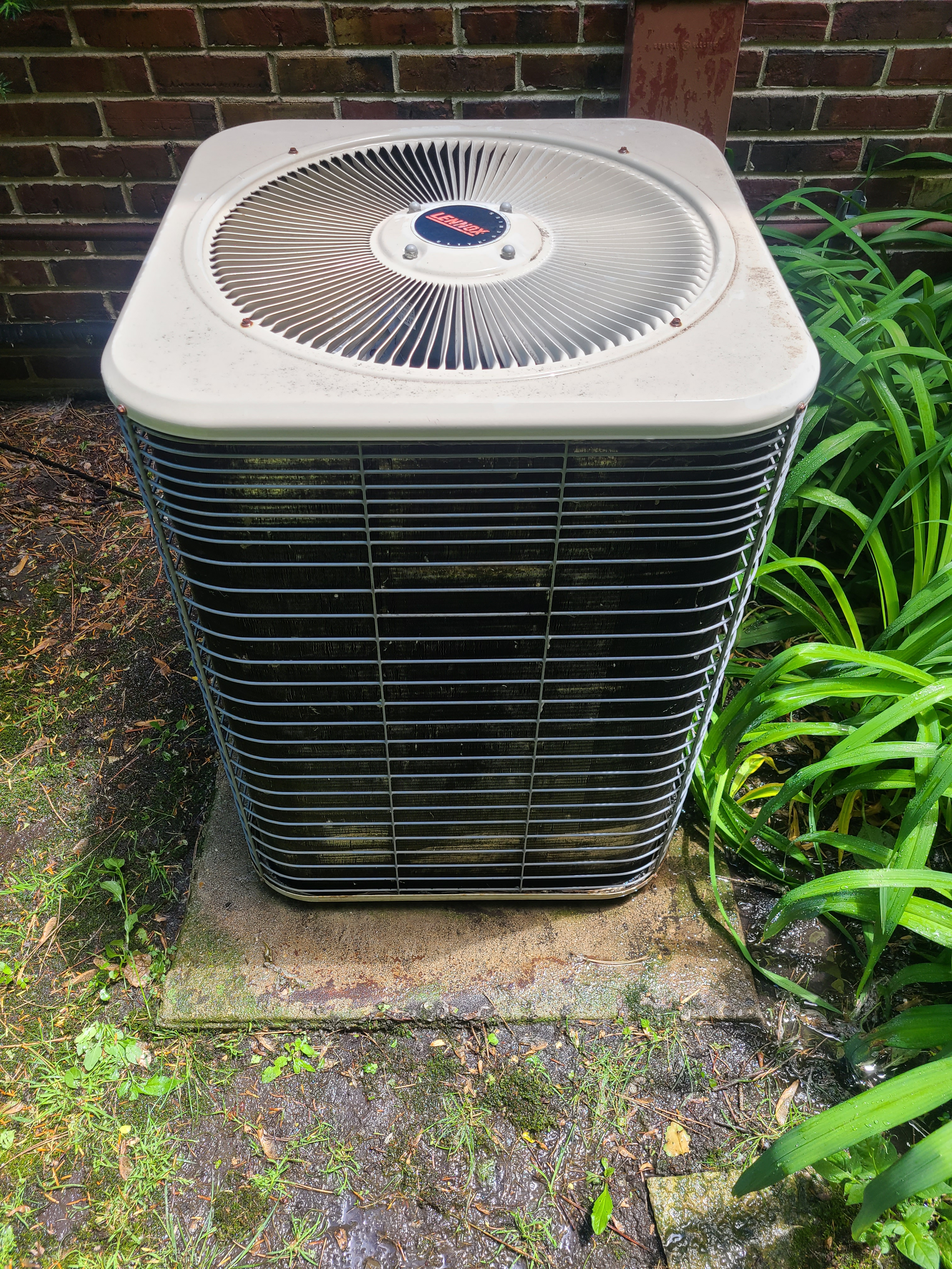 No cooling. Air filter completely plugged up and condenser coil plugged up on Lennox AC unit