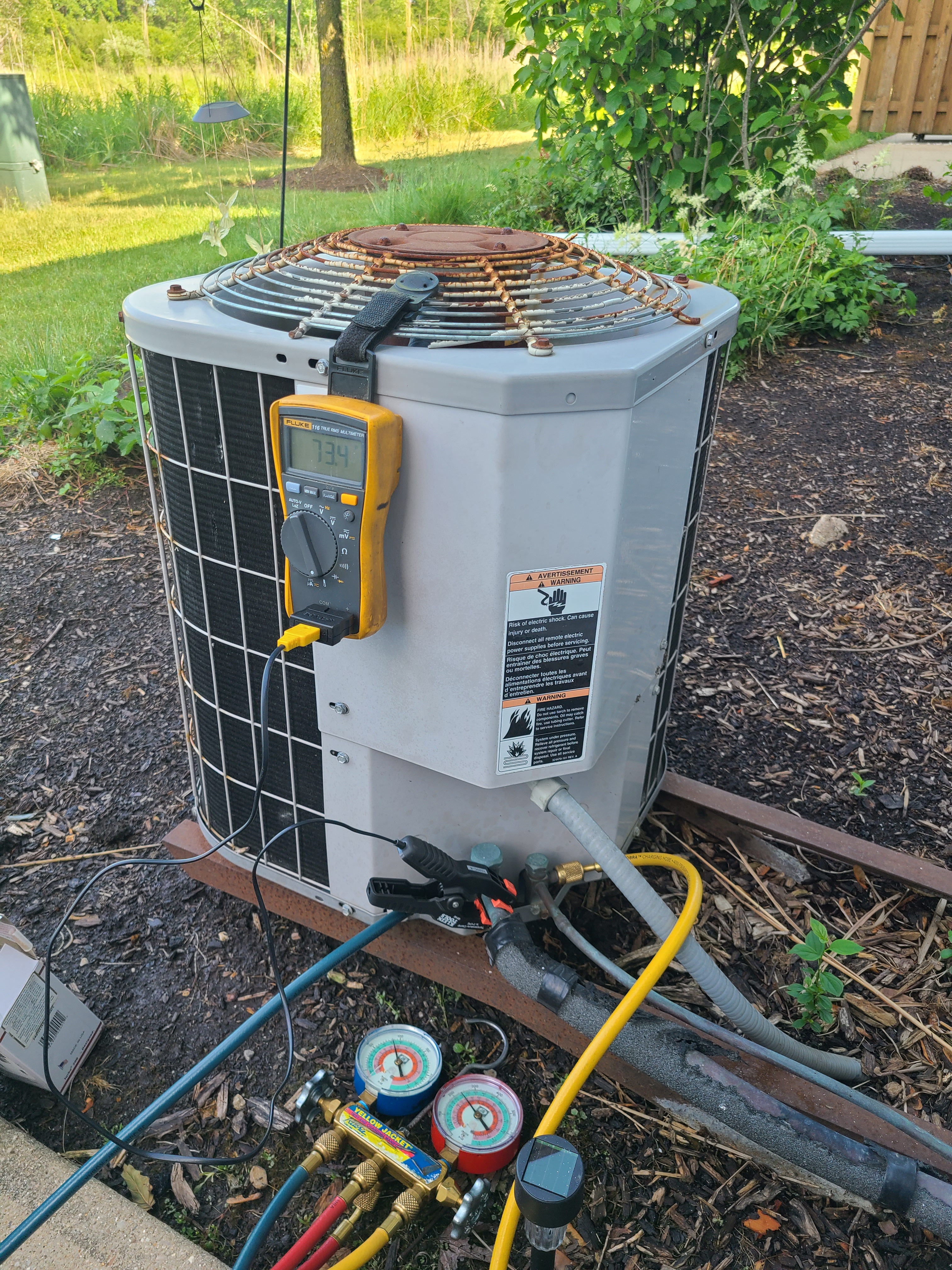 Carrier ac no cooling issue diagnosed and repaired. New capacitor installed and system running good now!