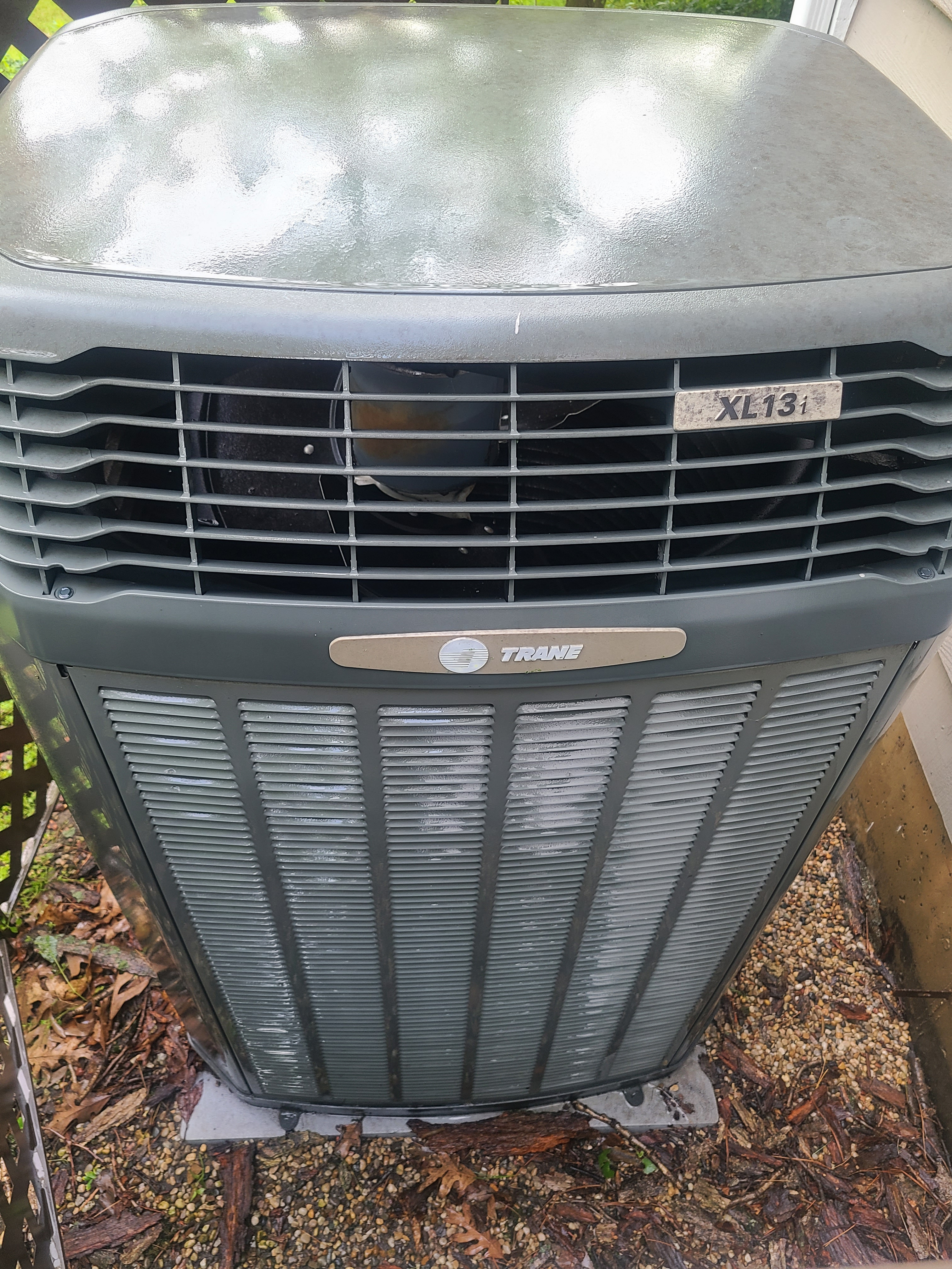 Trane air conditioning low on refrigerant, added.