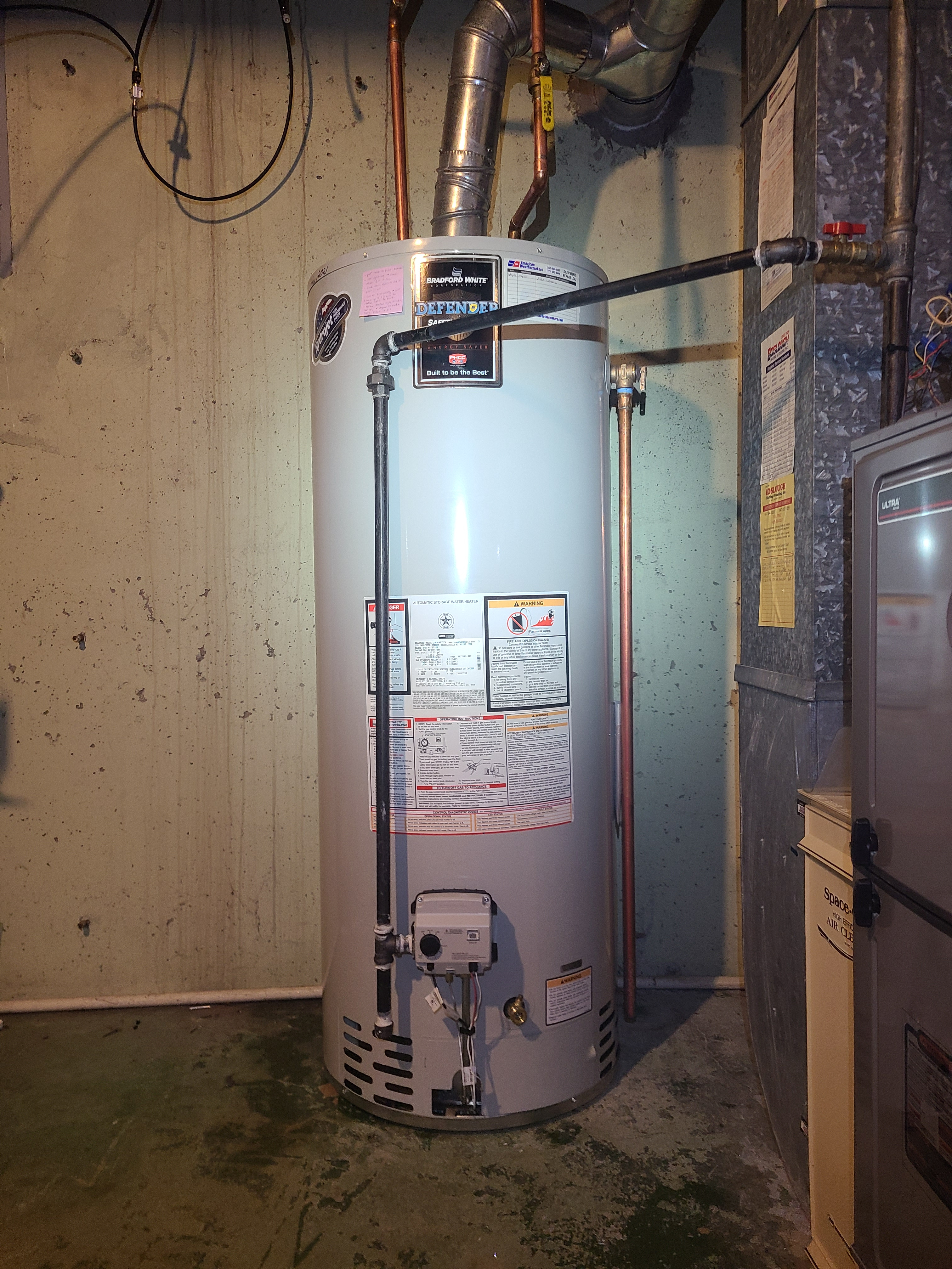 Bradford White 50gallon water heater installed to replace water heater with failed gas valve