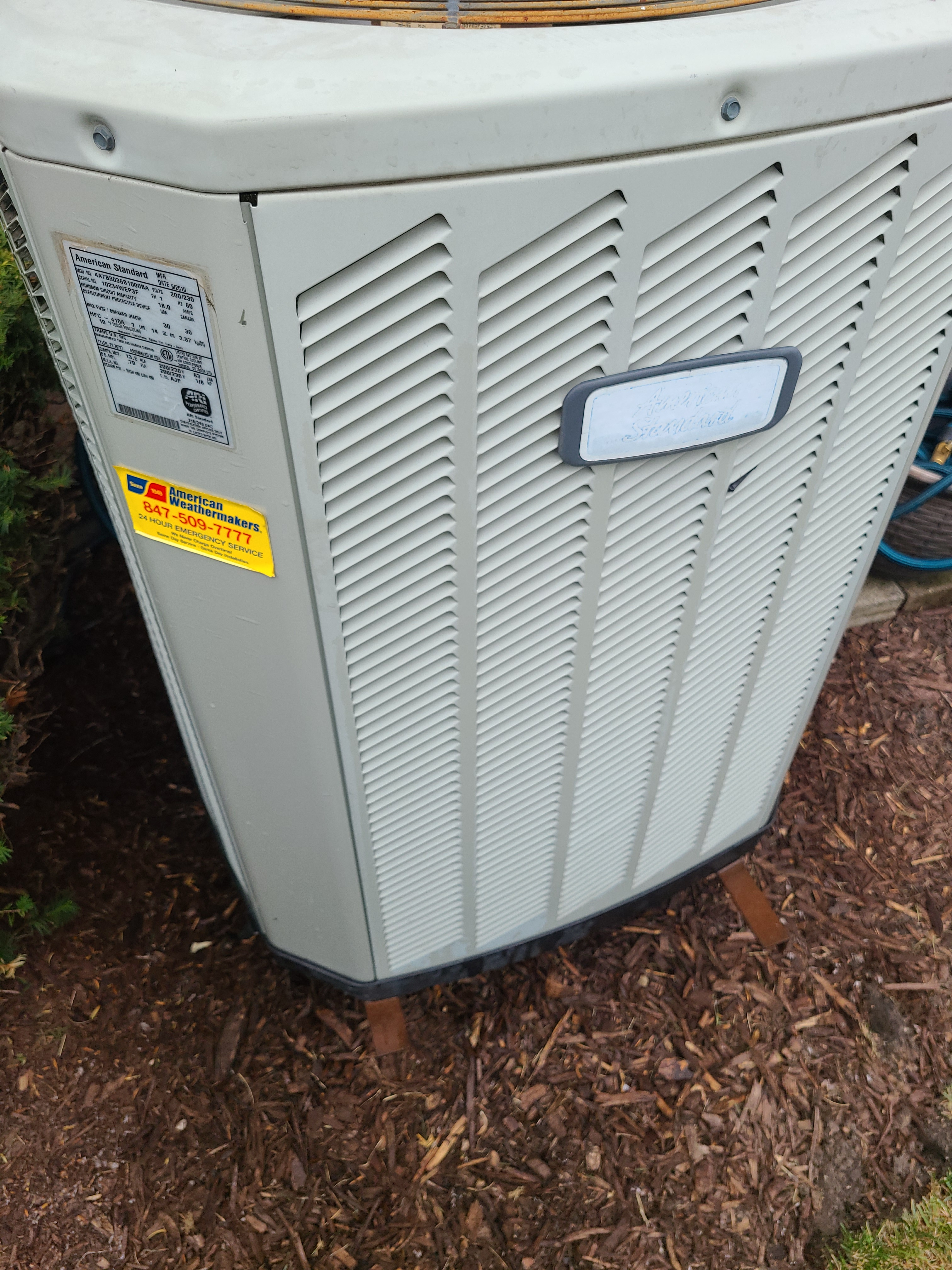 Performed preventative maintenance on an American Standard R410A system to extend the life of the unit. Checked voltage, amperage, temperatures, pressures, and microfarads. Washed condenser coil thoroughly.