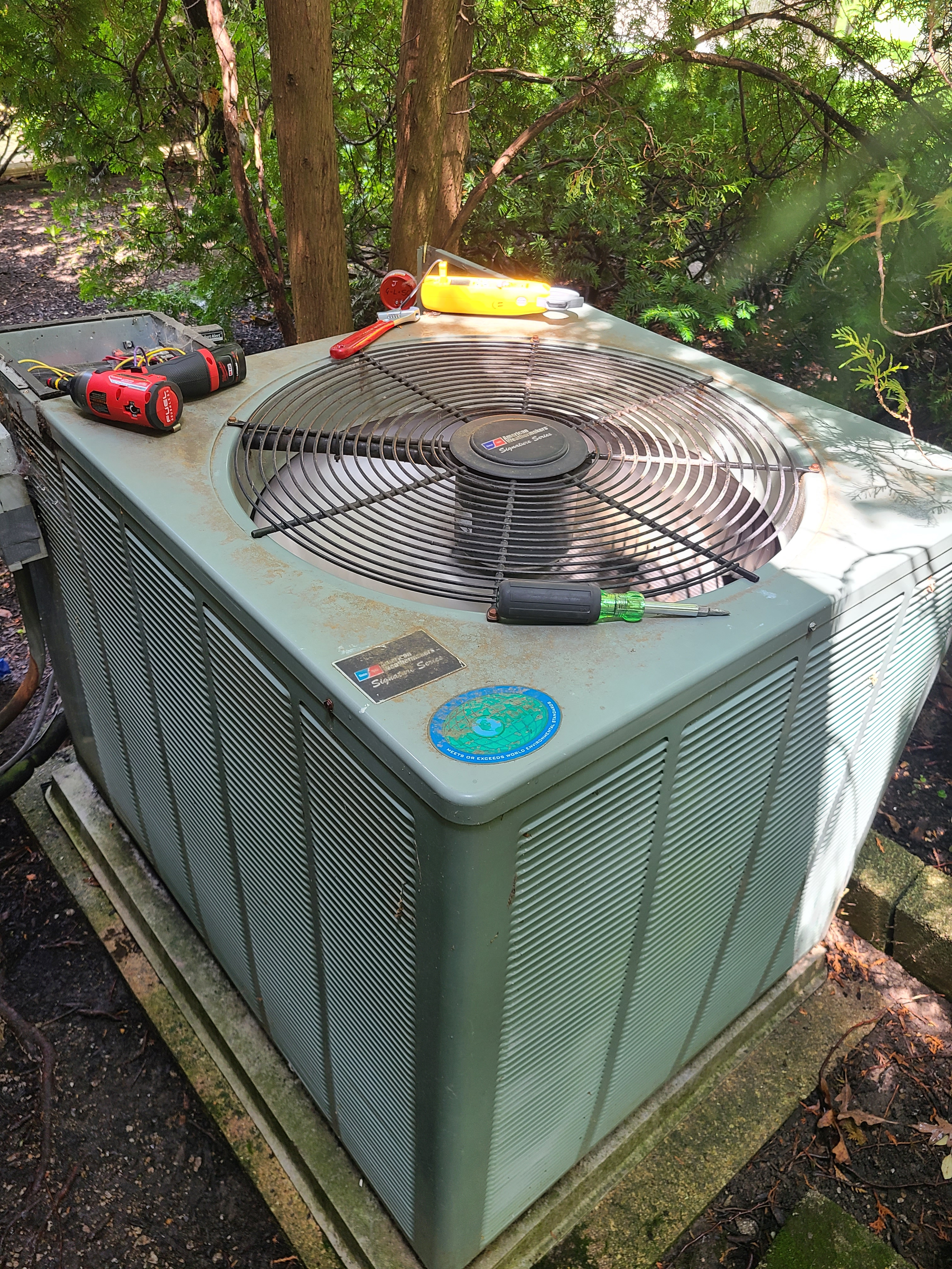 Rheem ac summer tune up. System cleaned and checked and ready for summer.
