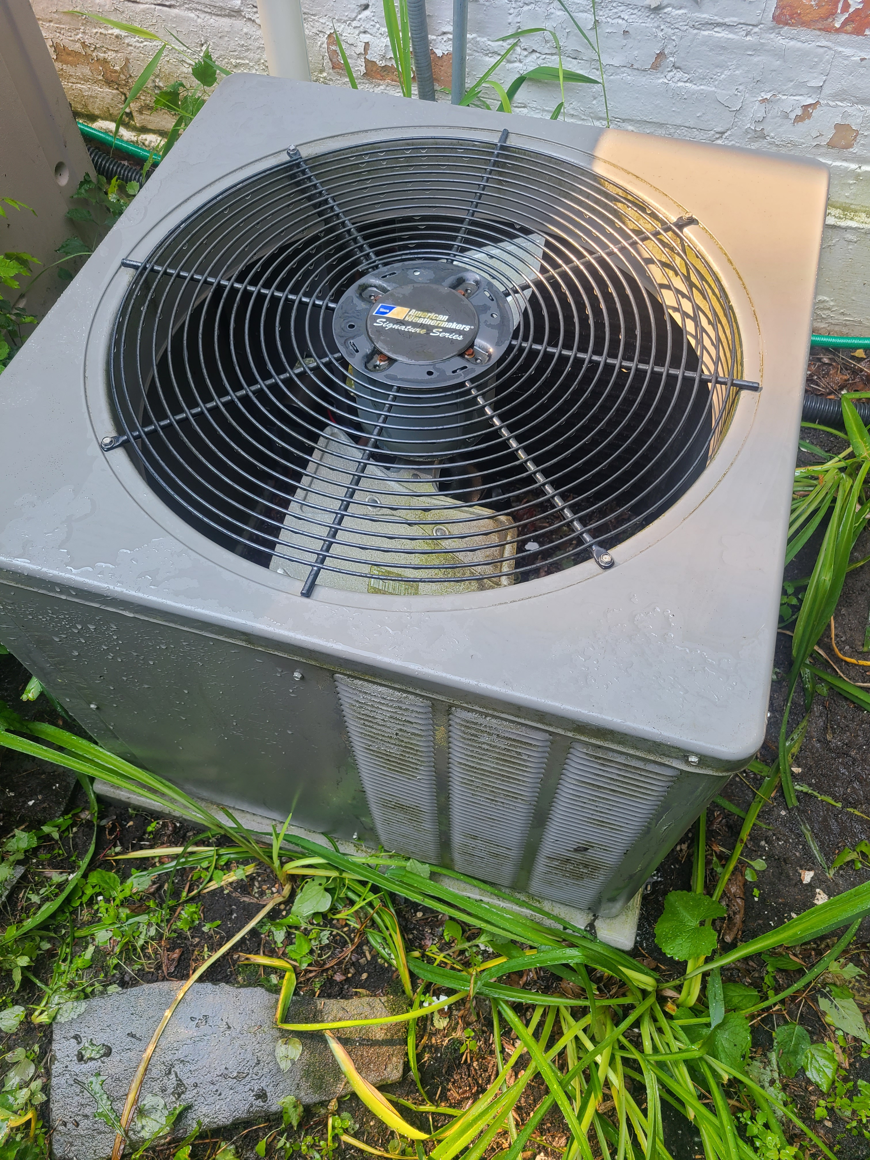 AC not cooling. Found system low on refrigerant. Recharged Ruud air conditioner.
