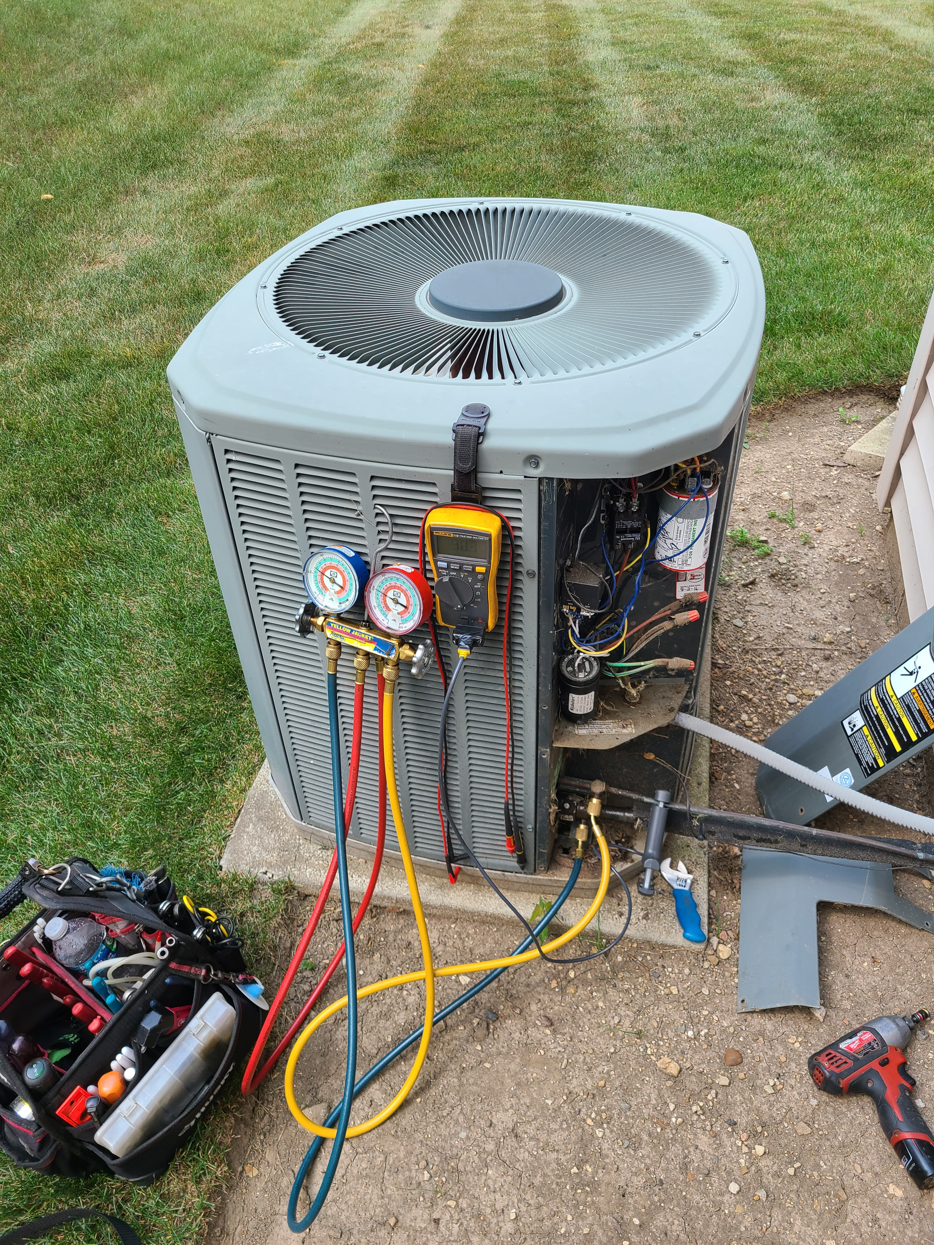 Trane ac summer tune up and maintenance. System cleaned and checked and ready for summer.